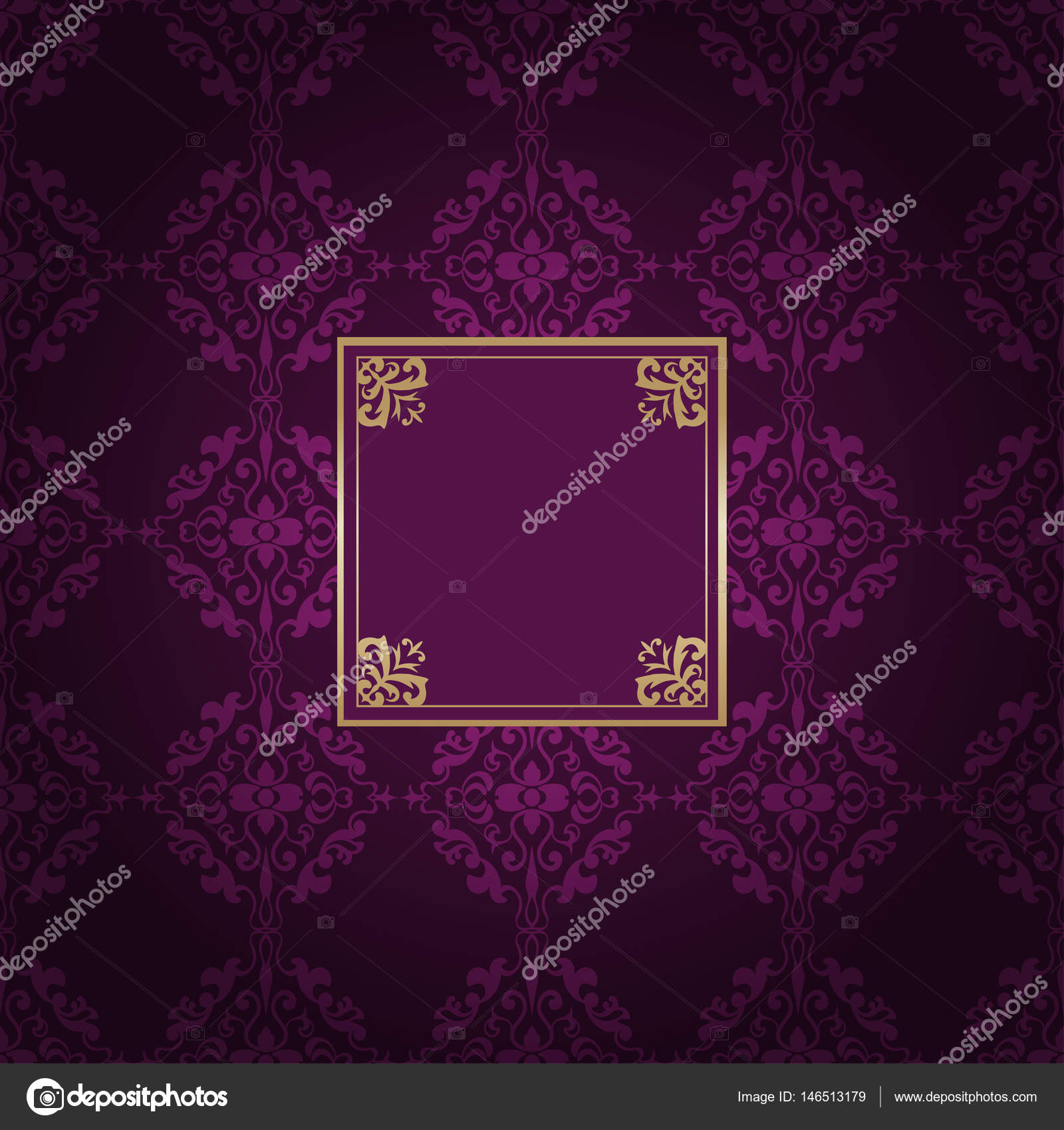 480a4ee71ad9 Vintage golden frame on colored ornamental luxury background — Stock Vector
