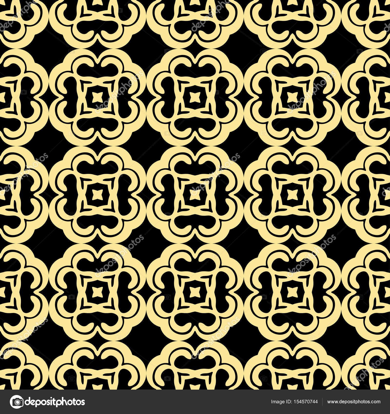 Seamless Floral Geometrical Wallpaper Black And Golden Orange