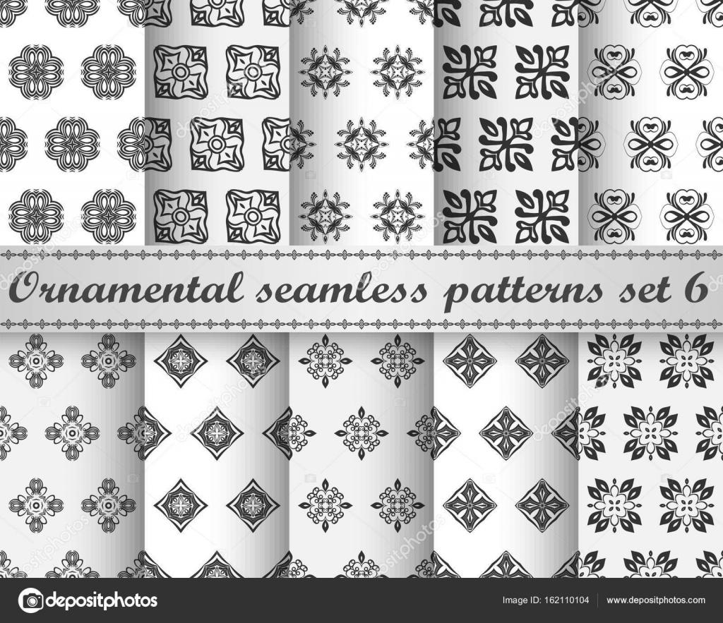Conjunto de diez repetir patrones vintage ornamentales. Plantilla de ...