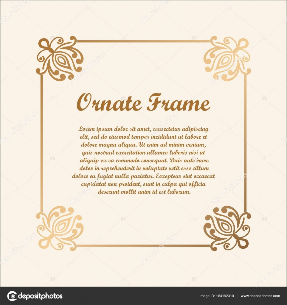 Vector Decorative Frame With Golden Gradient Elegant Element For