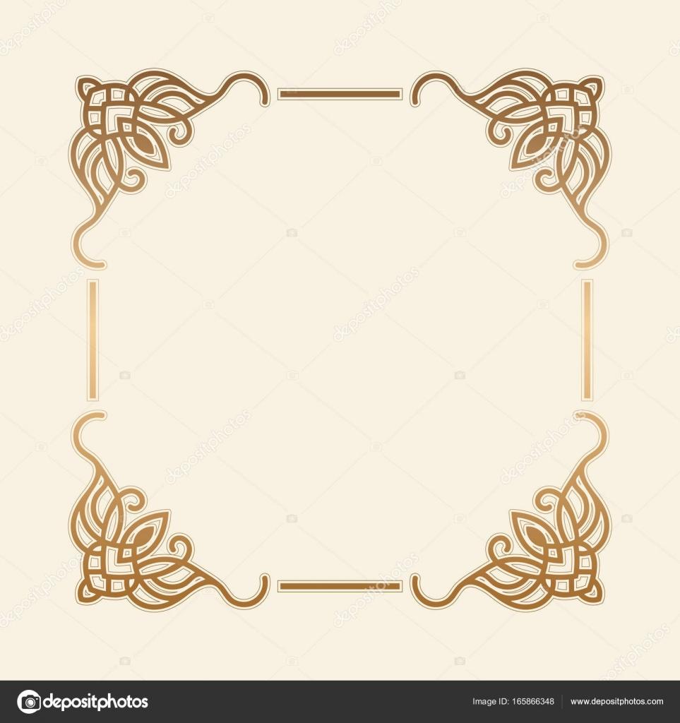 3dfcf1c27868 Gold frame. Beautiful simple golden design. Vintage style decorative  border