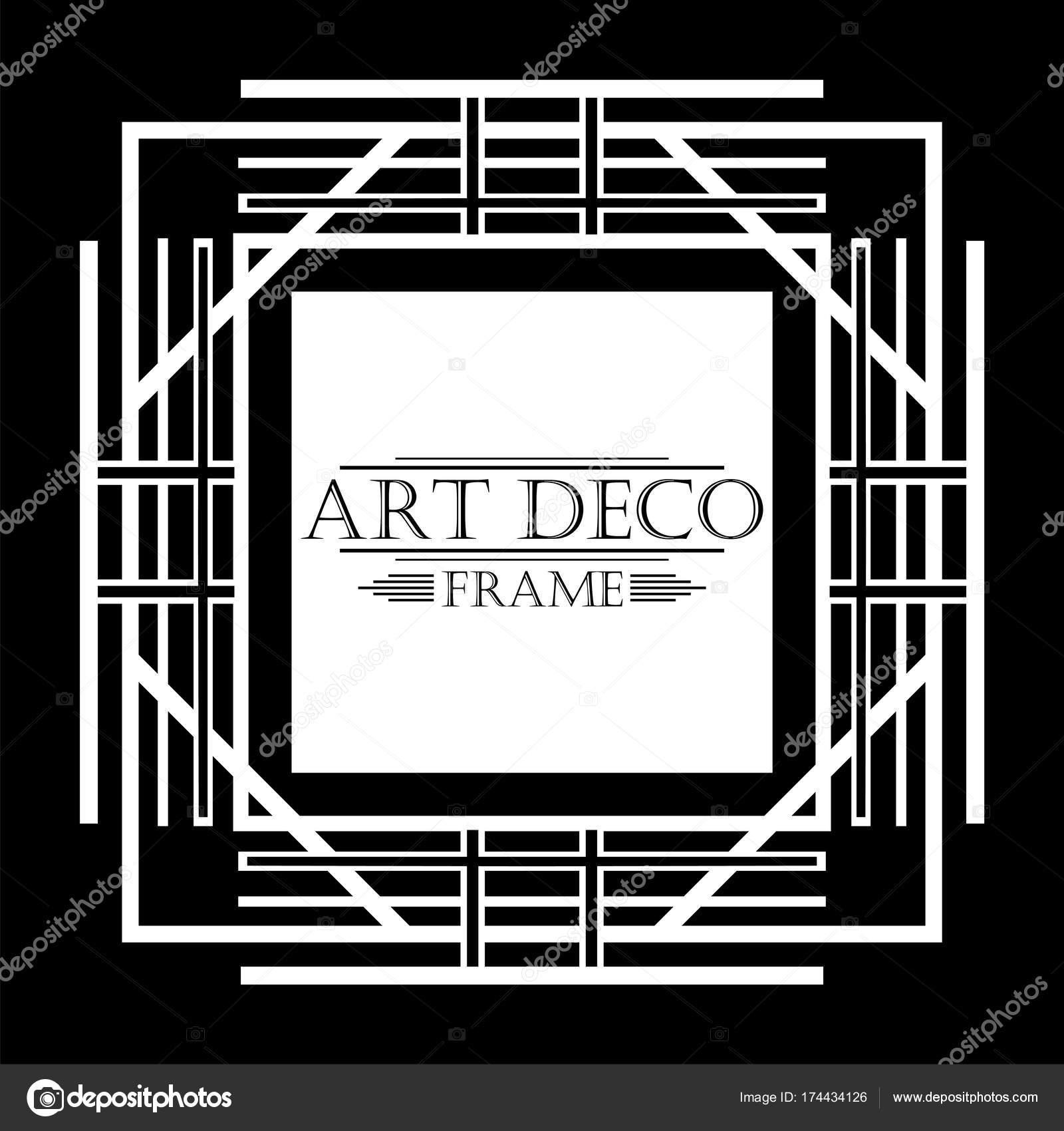 Vintage white retro frame in Art Deco style on black background ...