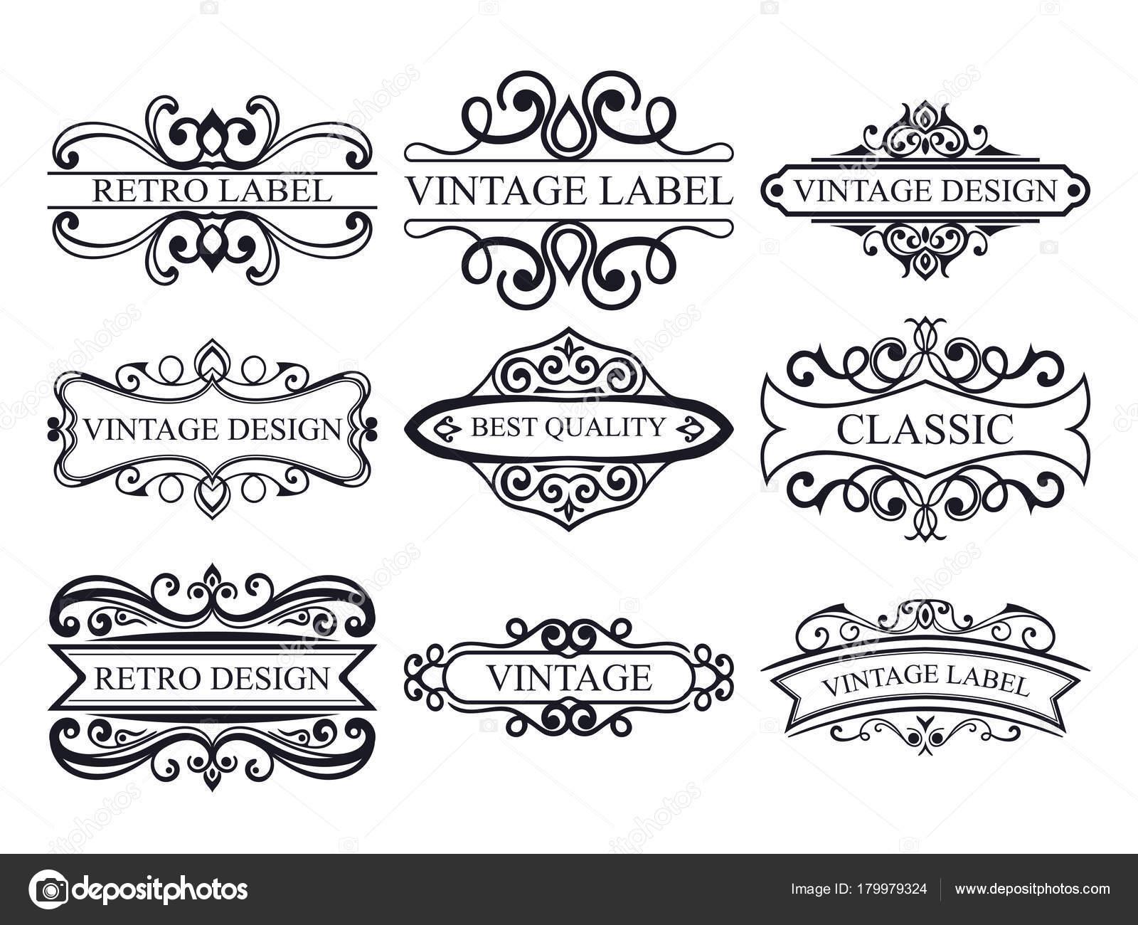 Satz von Vintage kalligraphische Etiketten. Reich verzierte Logo ...