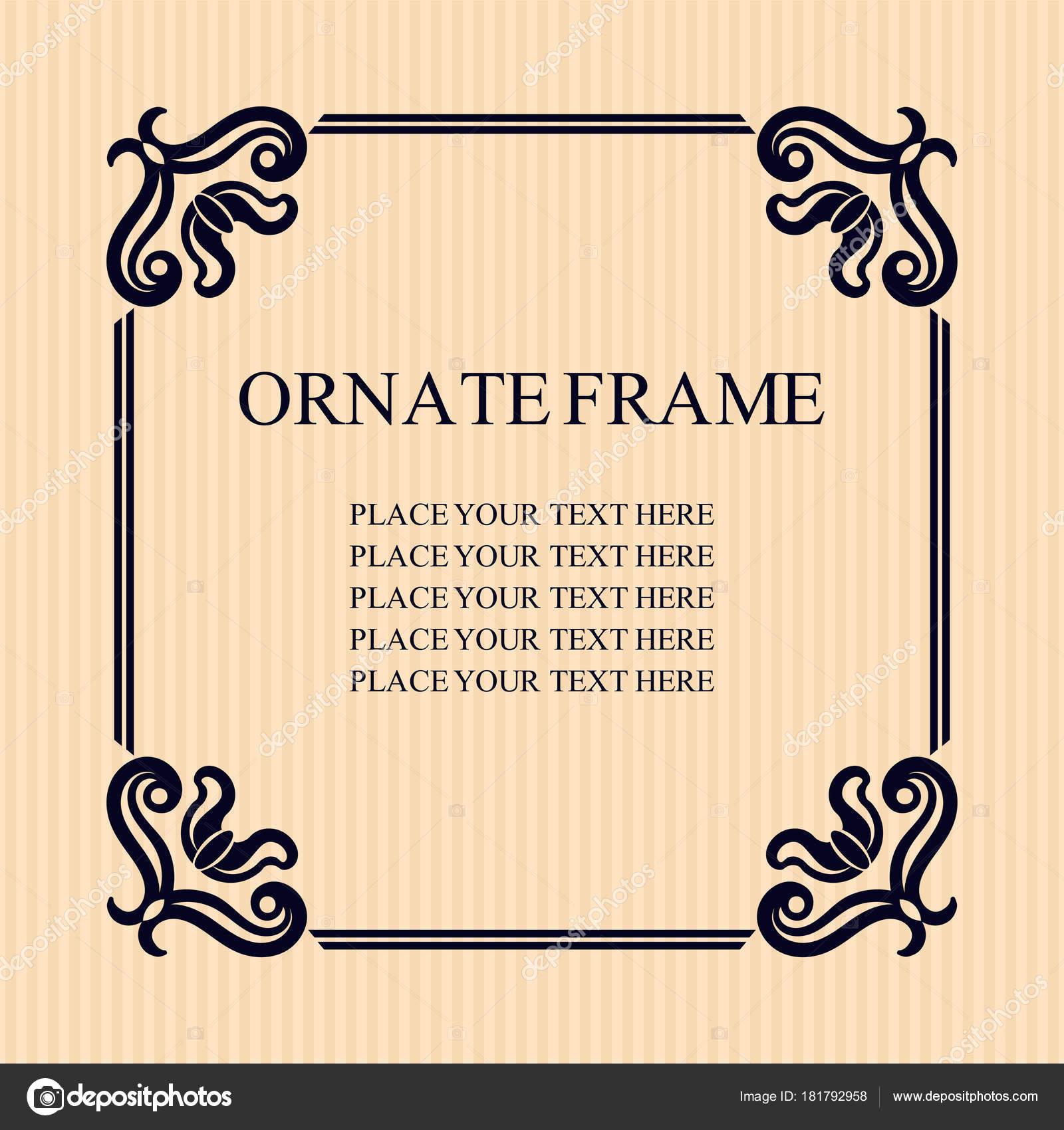 text på gratulationskort bröllop Vintage dekorativ ram. Eleganta prydnads mall för utformning av  text på gratulationskort bröllop