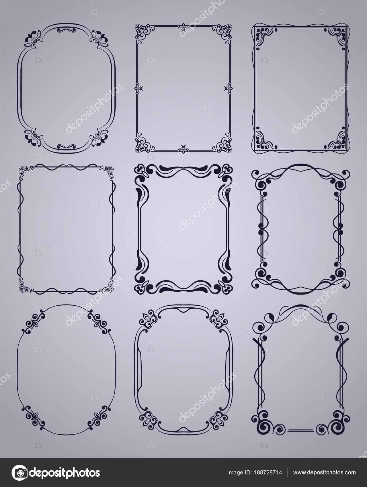 Conjunto de Marcos vintage con marco ornamental de hermosa filigrana ...