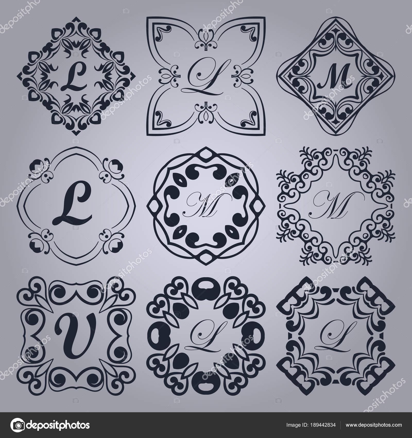 Conjunto de vintage monogramas cuadros con marco ornamental de ...