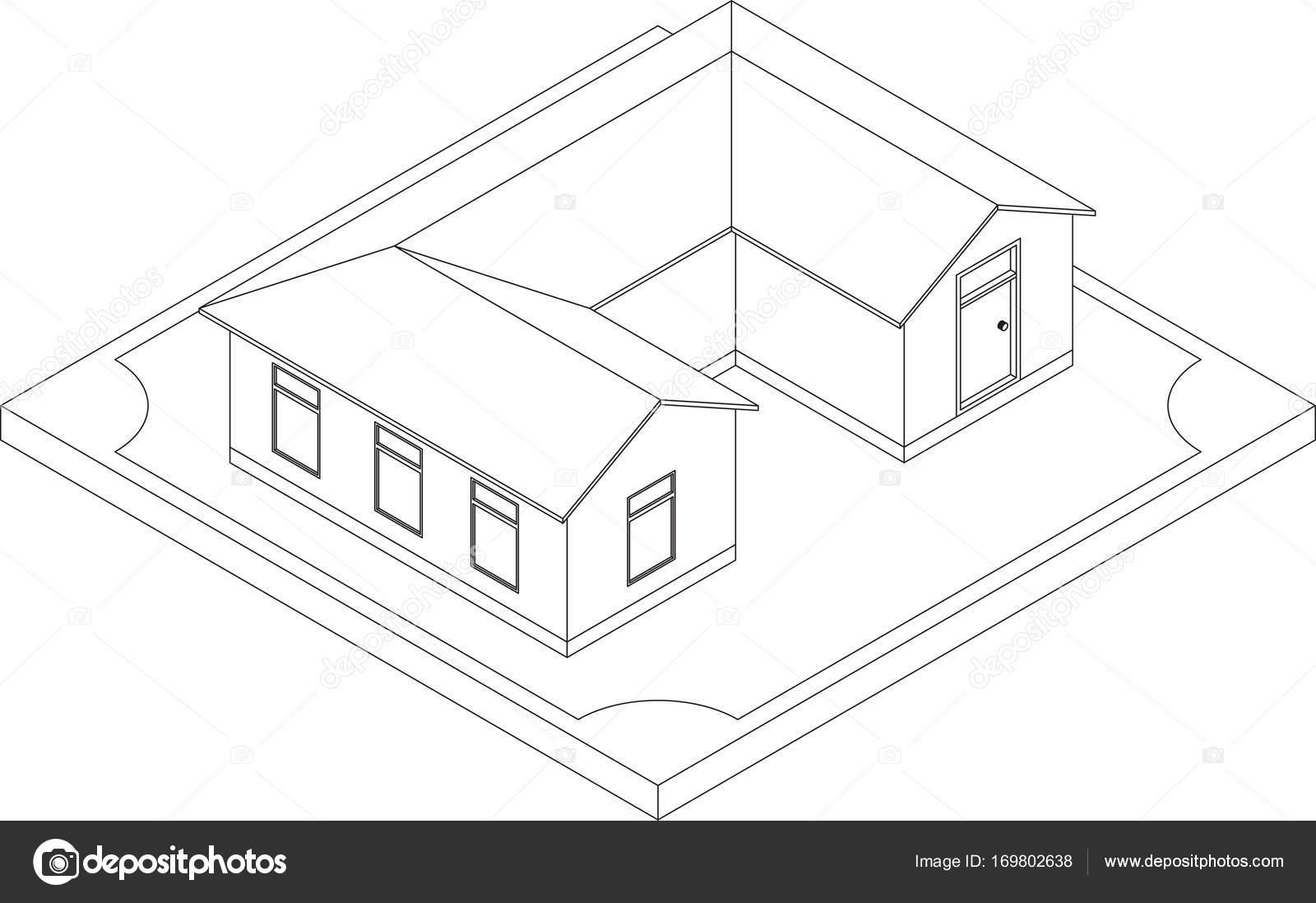 Contour of isometric house — Stock Vector © Sergeymarkov #169802638