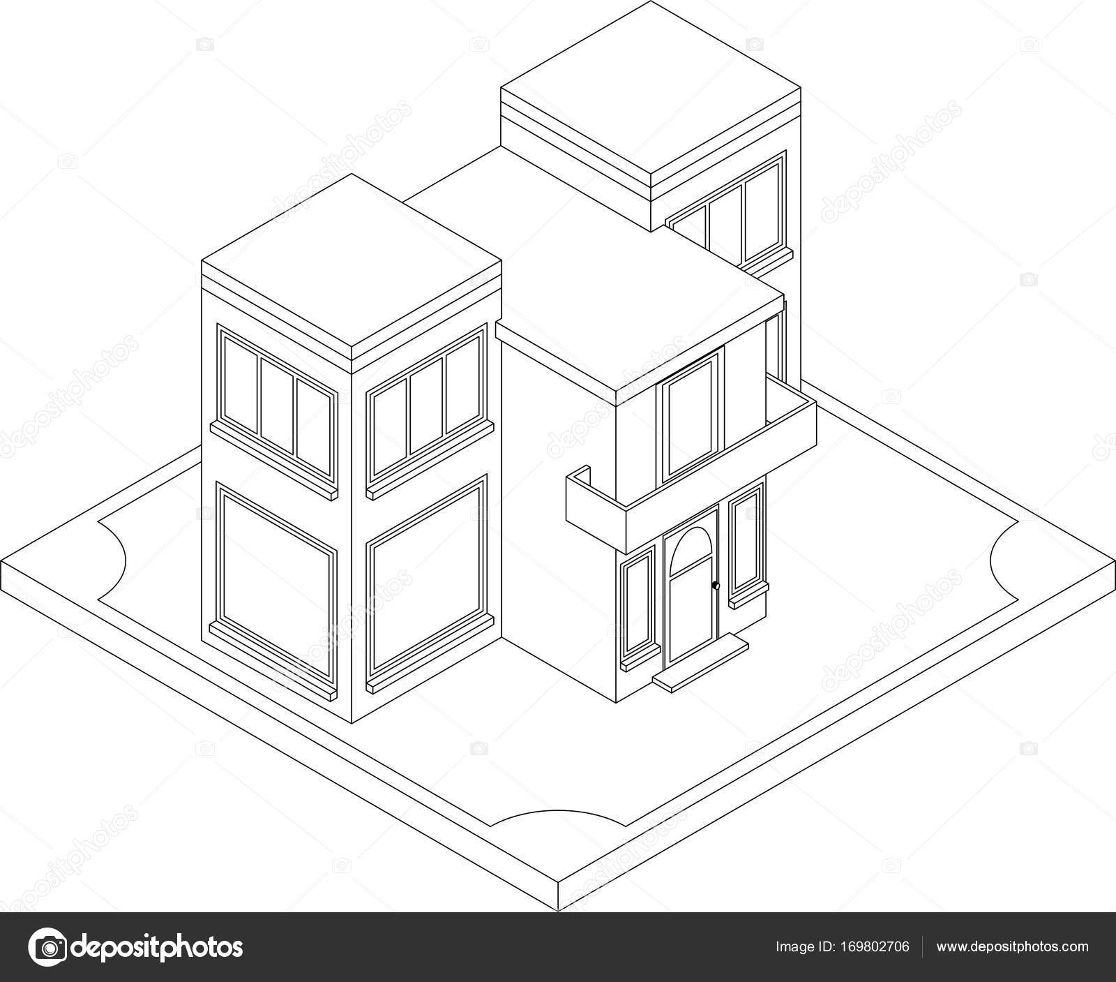 Contour of isometric house — Stock Vector © Sergeymarkov #169802706