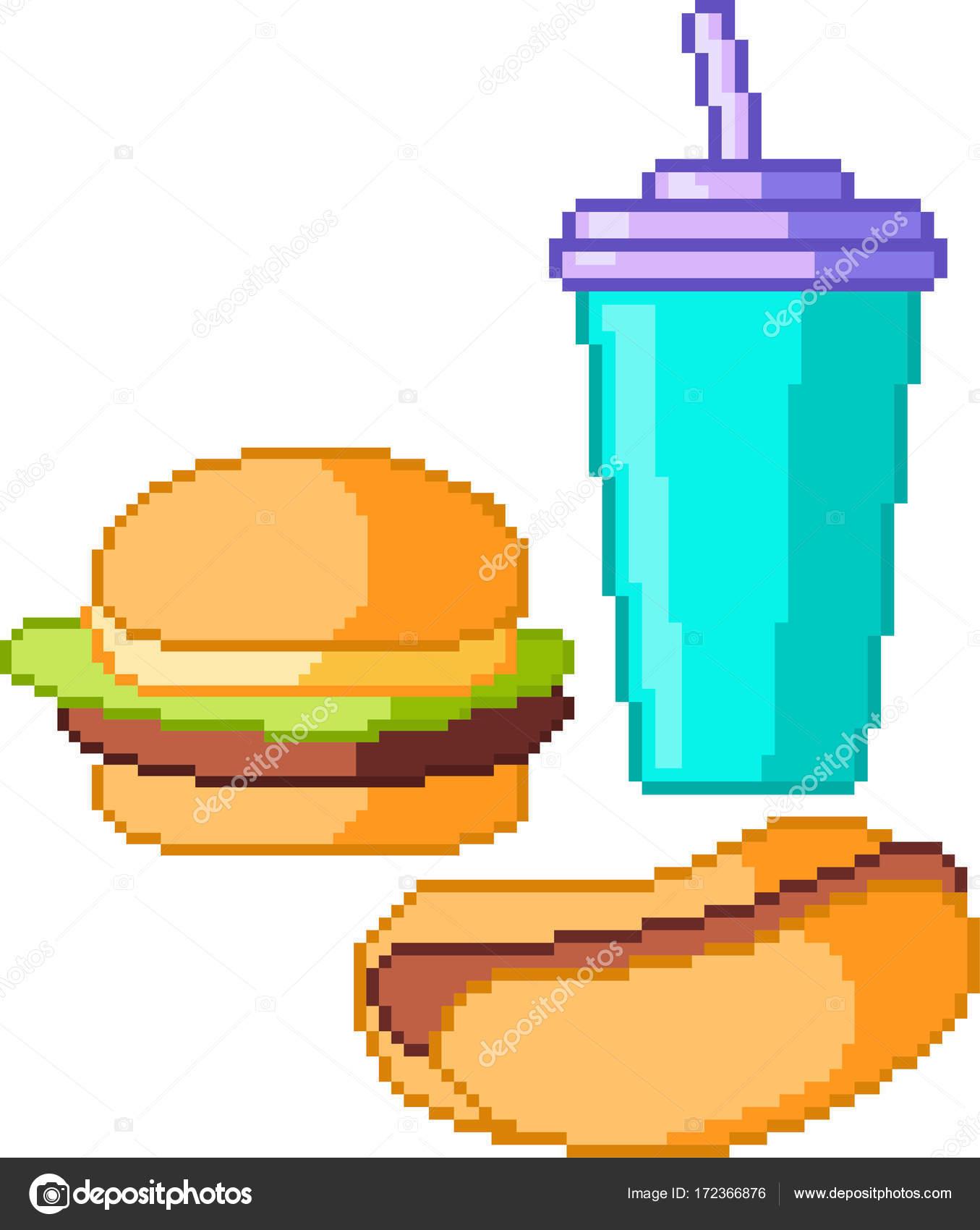 Ensemble Dicônes De Nourriture Dans Le Style Pixel Image