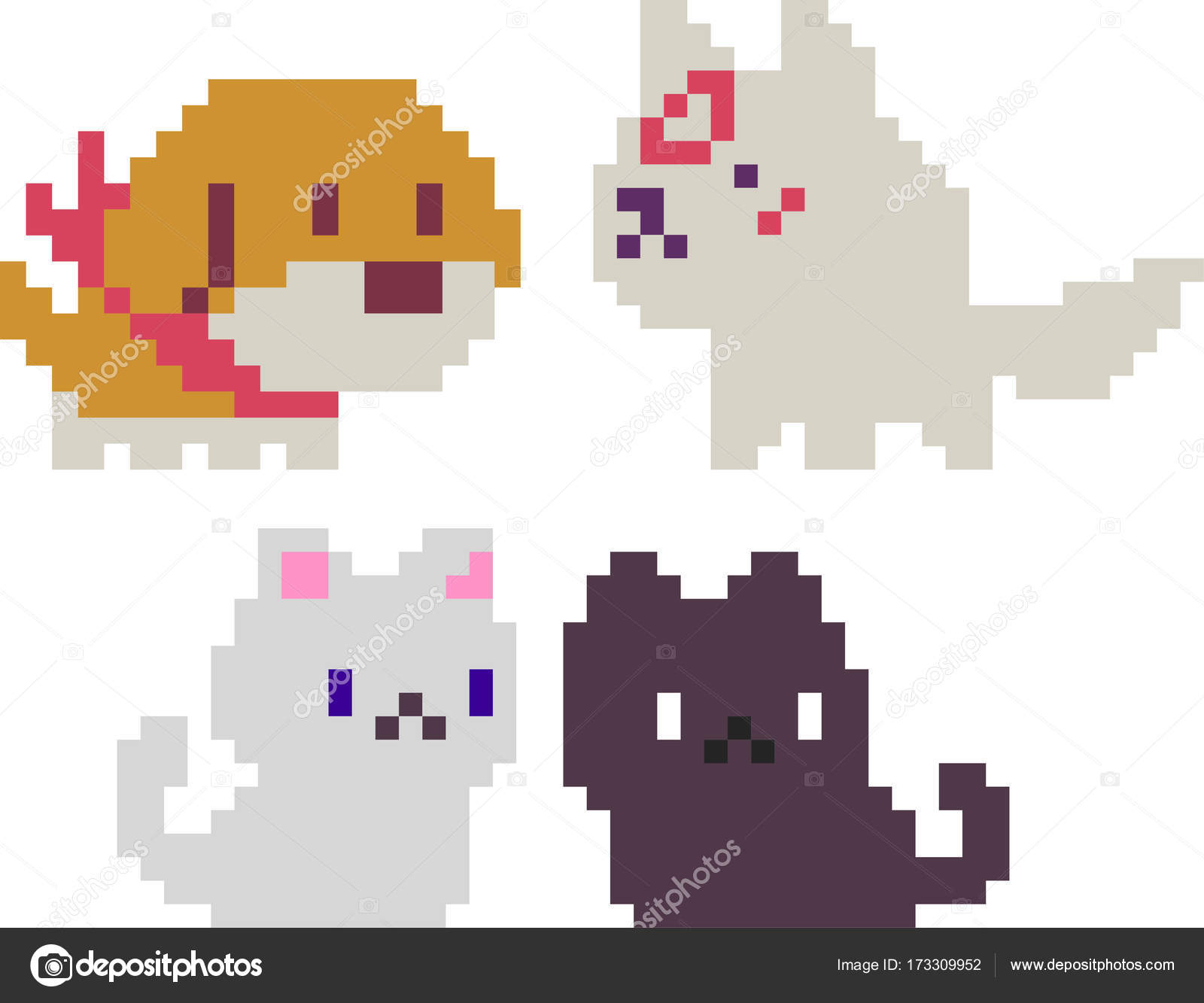 Set Of Pixel Characters Stock Vector Sergeymarkov 173309952
