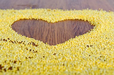 Declaration of love in a heart painted millet.