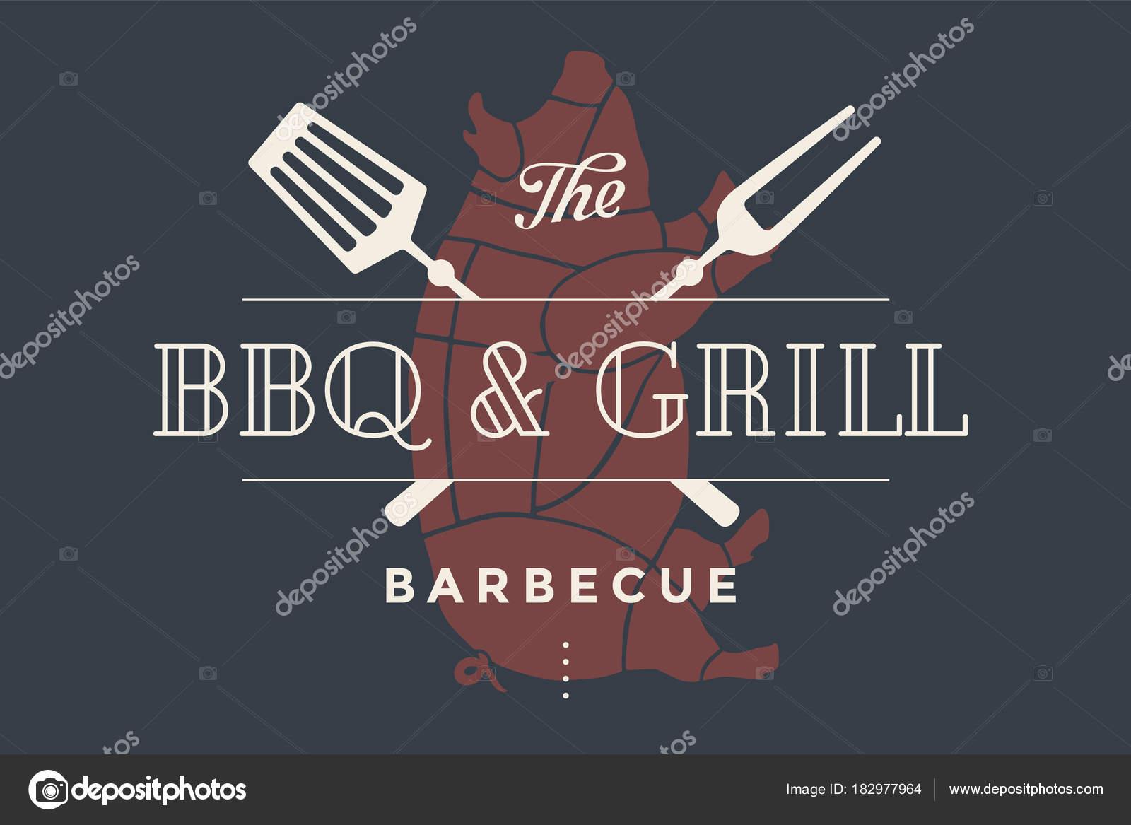 Logo Schablone Des Bbq Grill Fleisch Restaurant Mit Grill Symbole ...
