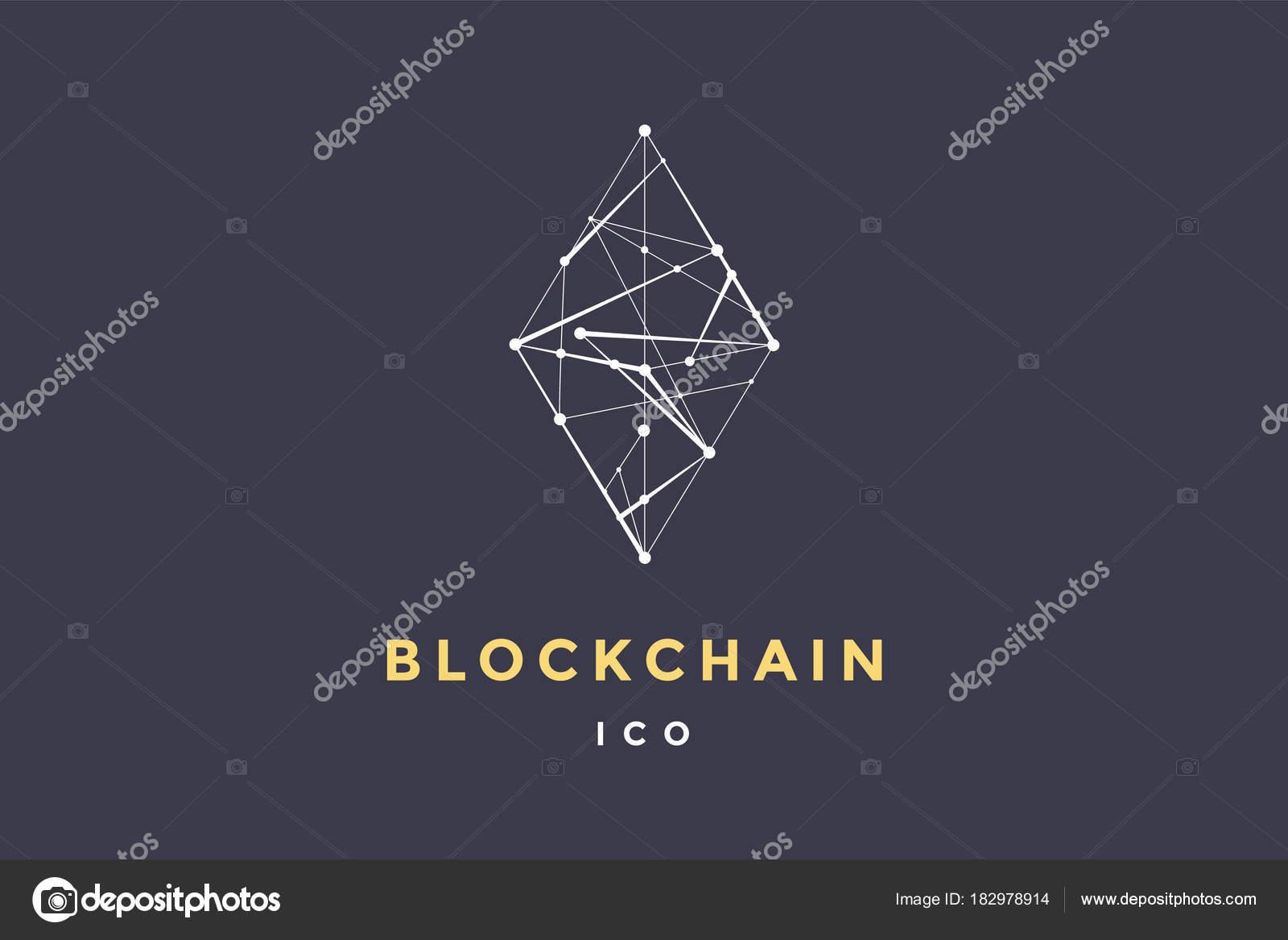 Insignia Plantilla Para Tecnología Blockchain Rombo Con Líneas ...