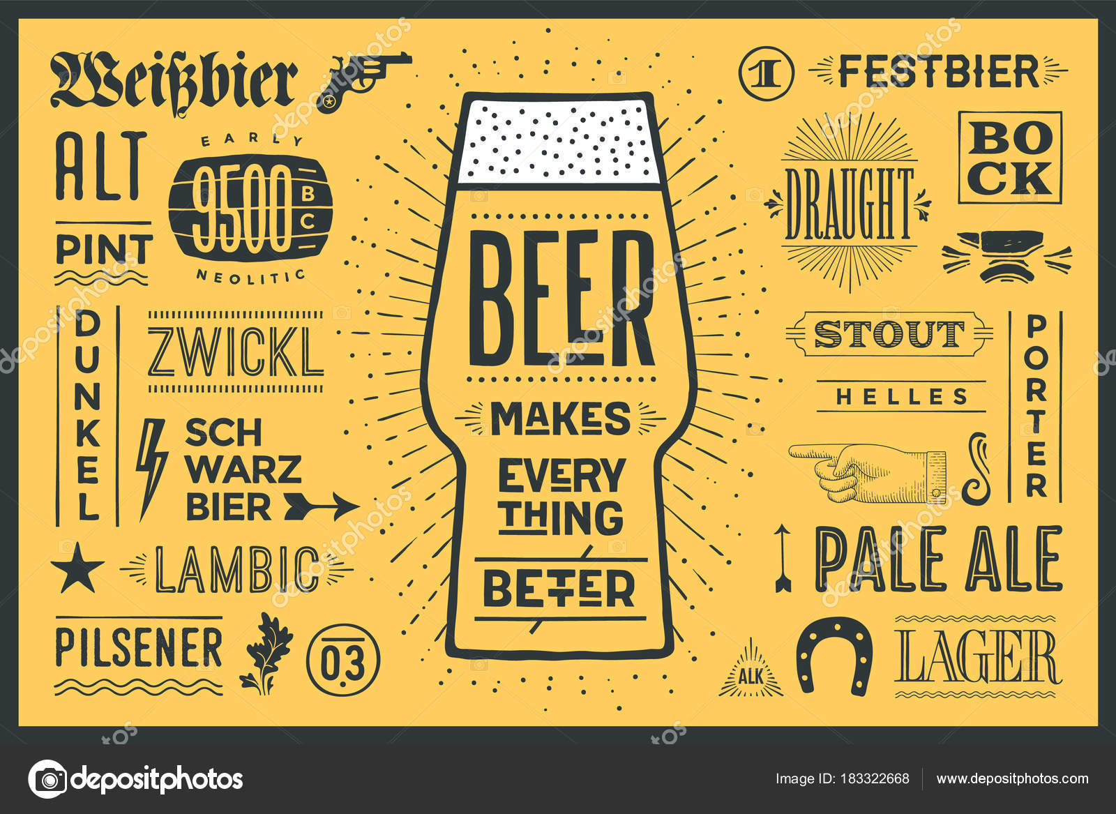 poster banner text beer makes everything better names types beer