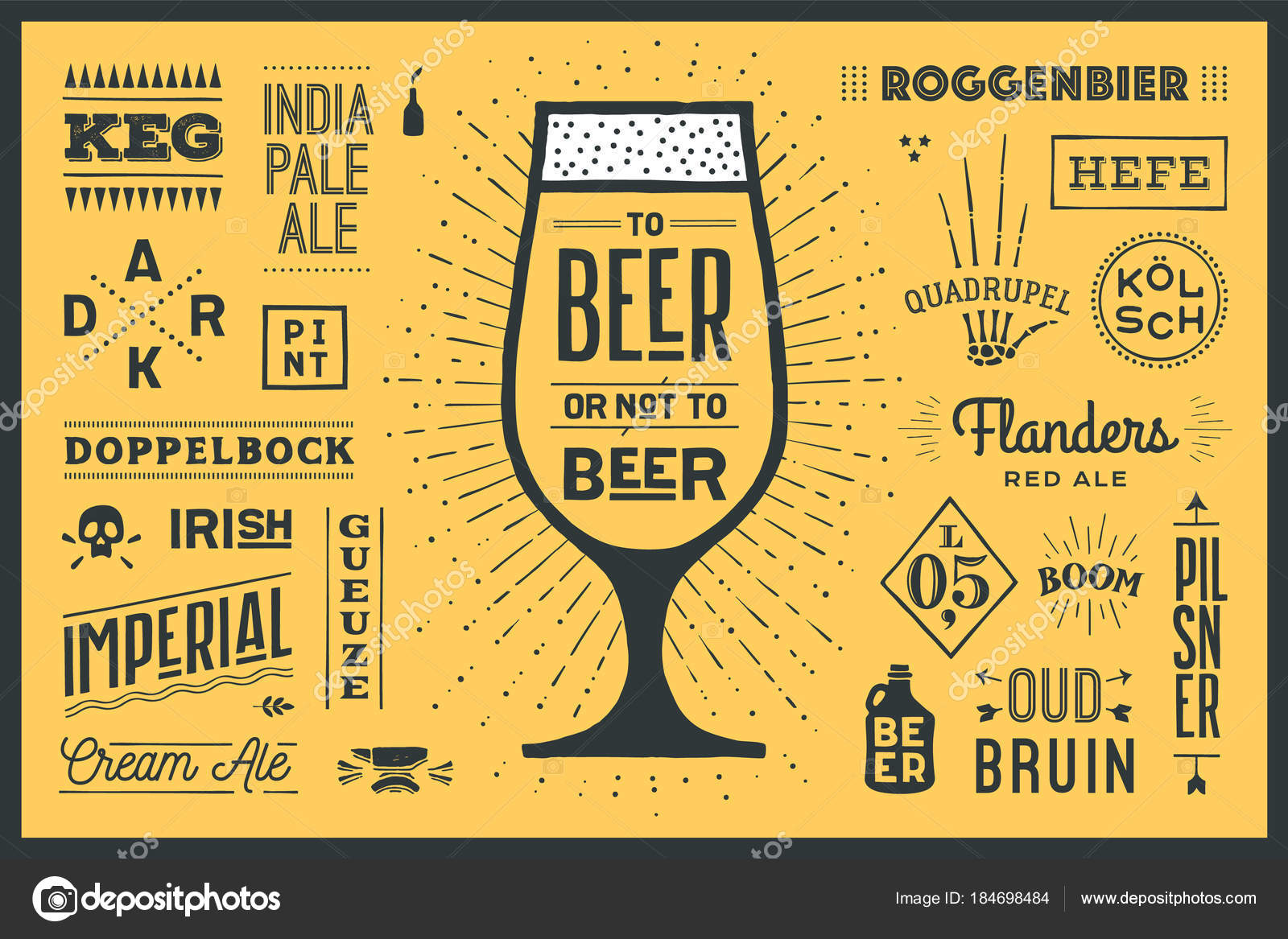poster banner text beer beer names types beer colorful graphic