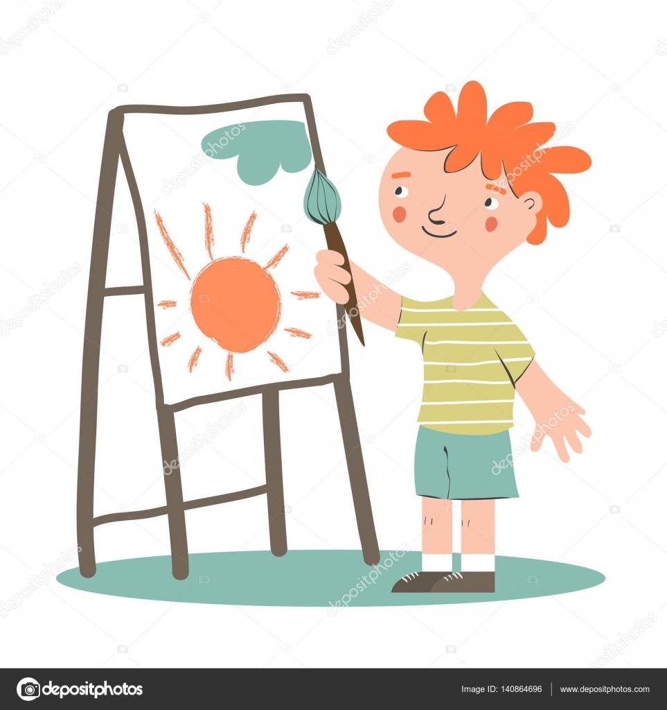 Resmi Gülümseyen çocuk Ressamın Stok Vektör Annaisaeva 140864696