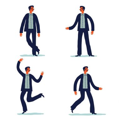 businessman character with different poses.