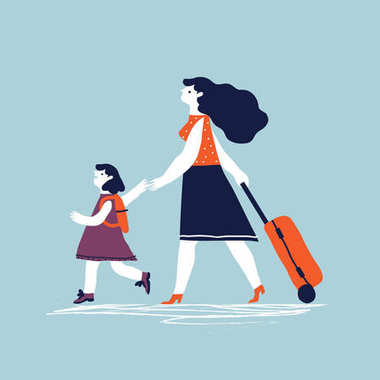 Woman with a luggage bag and with child going on vacation. Vector creative  illustration. stock vector