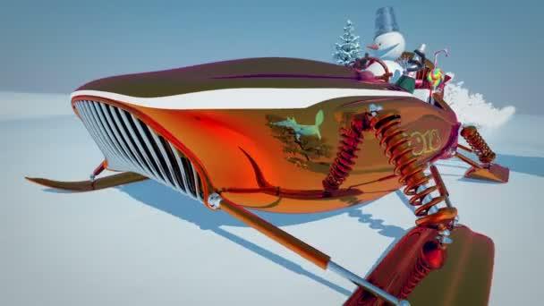 Sněhulák na koni skútr sáně. Nový rok. Čísla roku 2018. Veselé Vánoce. Les. 3D animace Loopable
