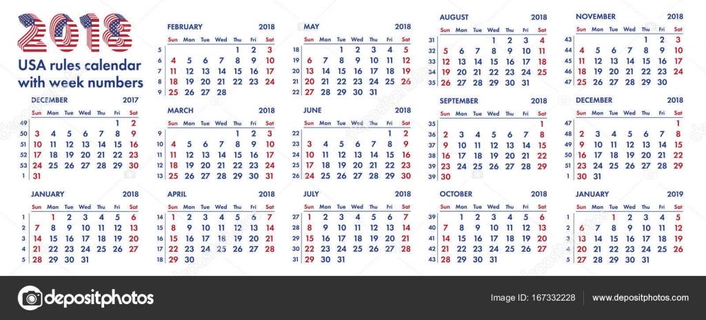 Calendario Con Numero Settimane.Settimane Di Calendario Americano 2018 Illustrazione Di