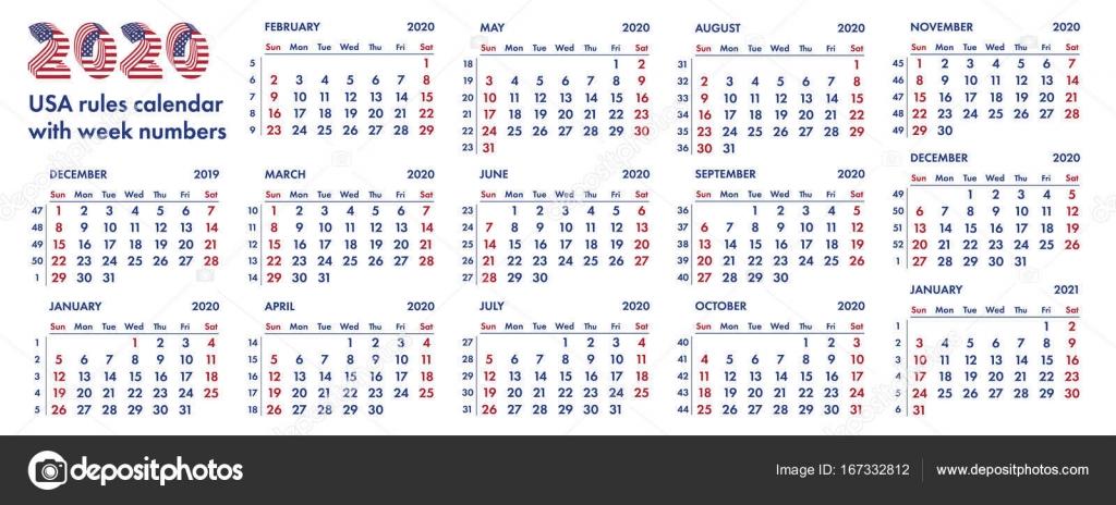 Calendario Trimestrali 2020.Settimane Di Calendario Americano 2020 Illustrazione Di
