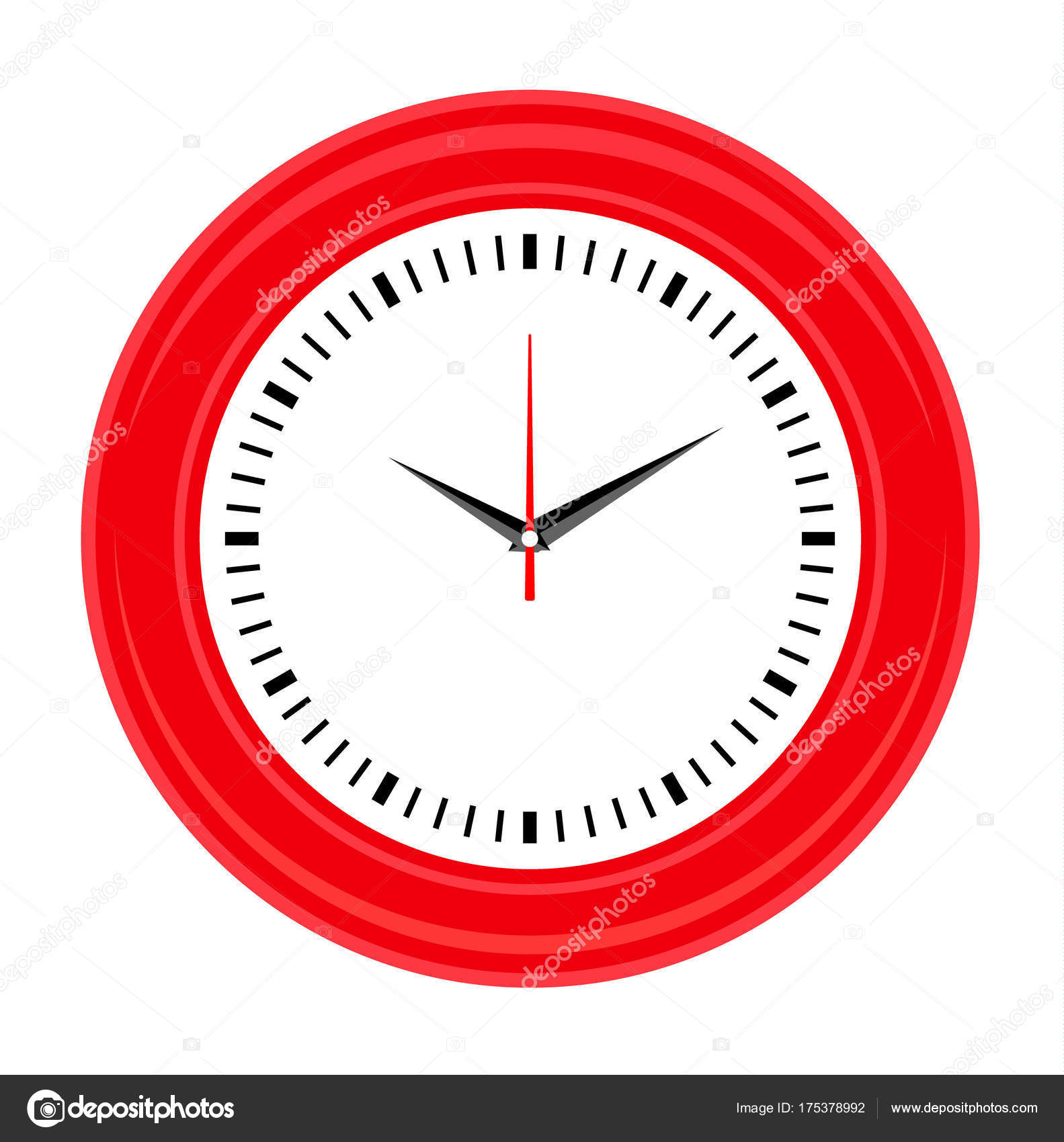 Wall clock template. Flat style vector icon. — Stock Vector ...