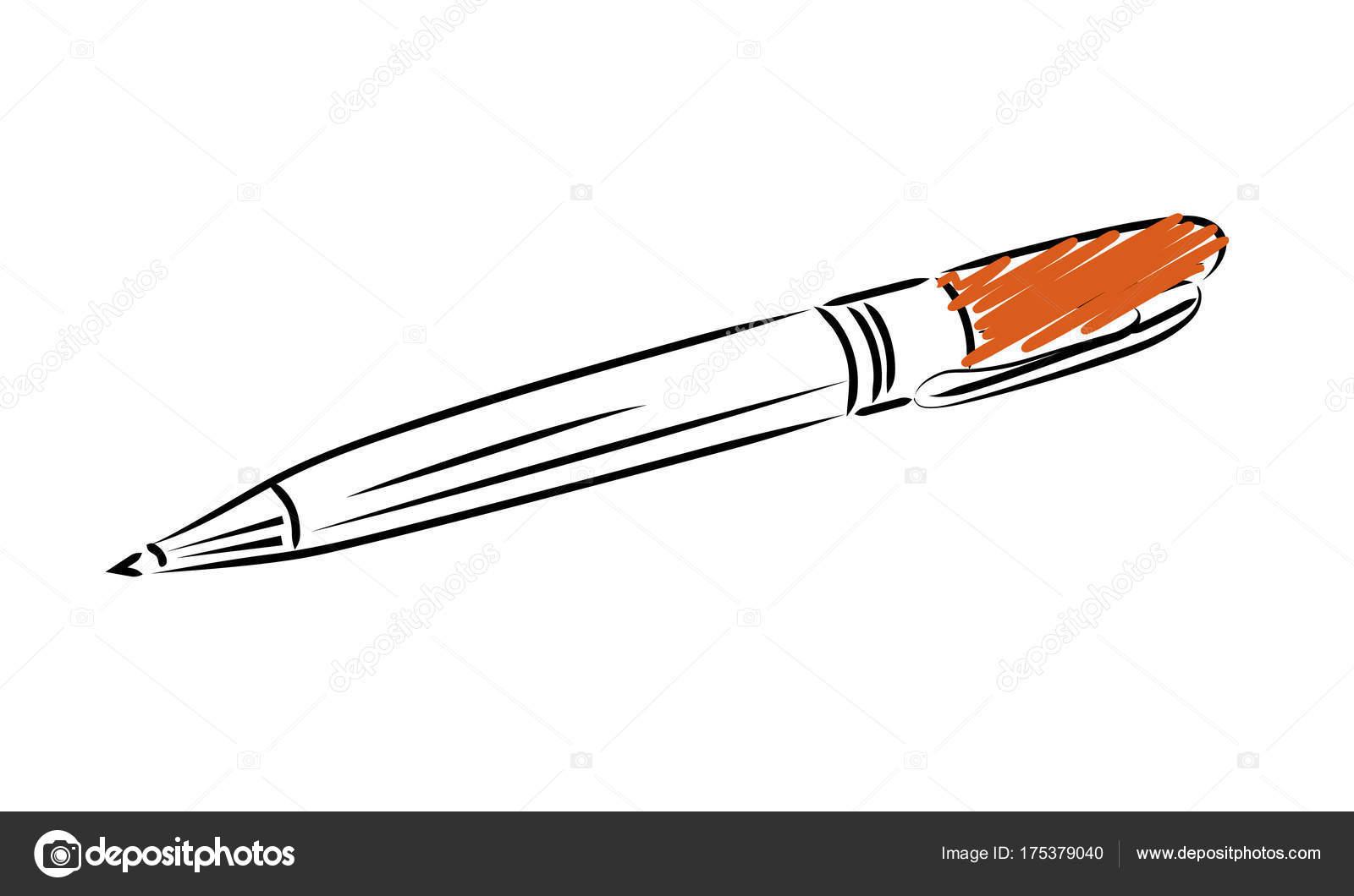 Plantilla de la pluma de escribir. Icono de estilo de contorno ...