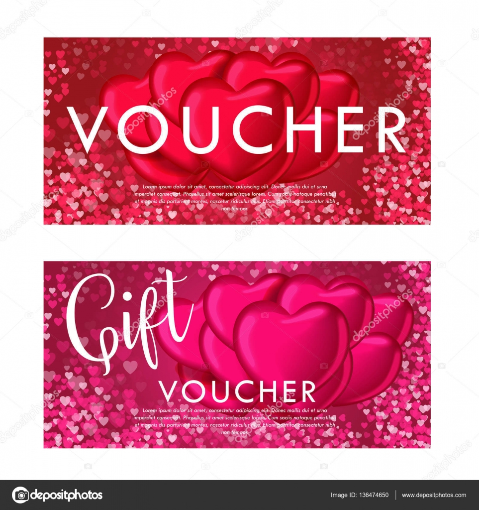 Valentines Day Gift Card Voucher Template On Beautiful Background