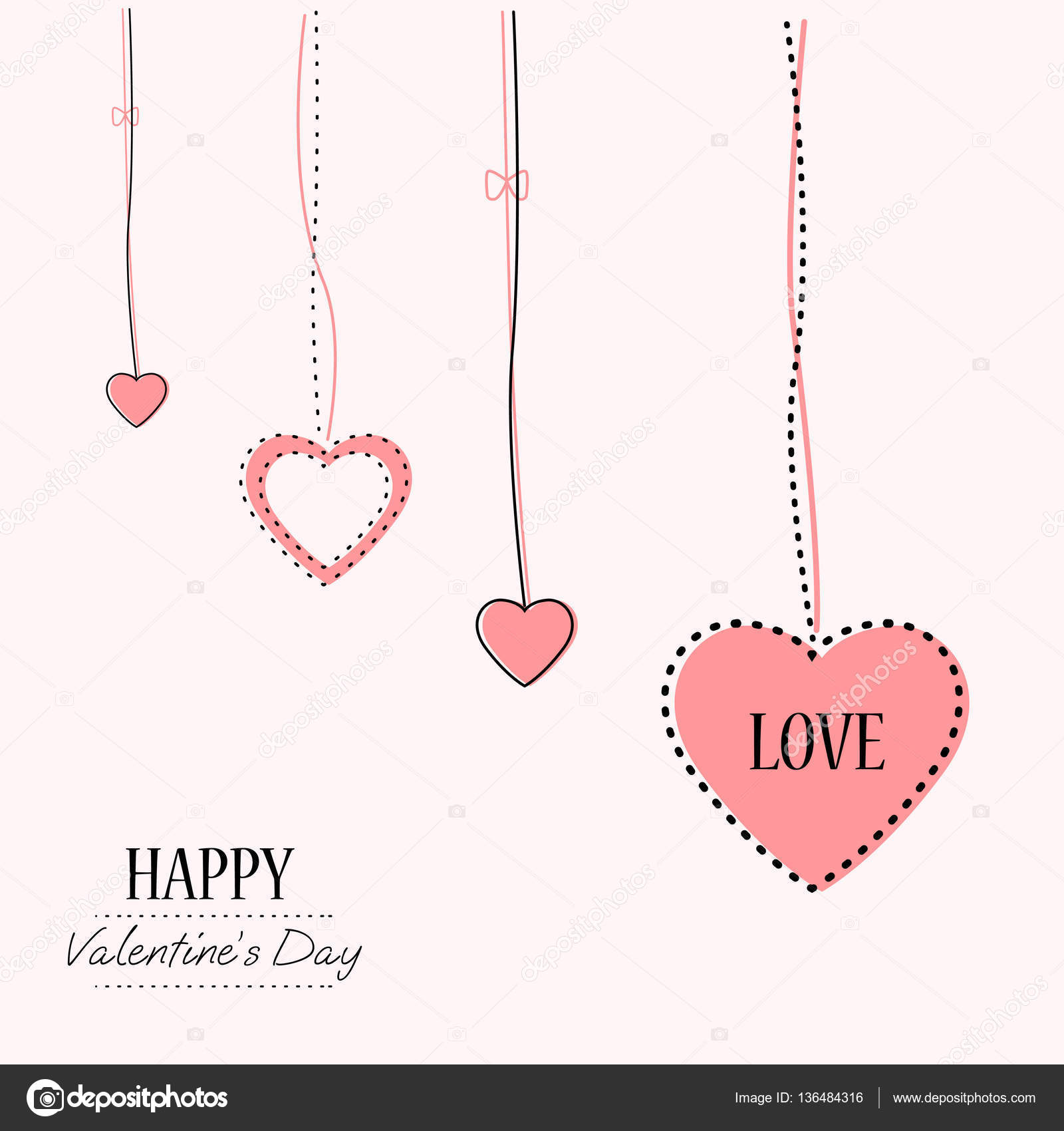 Valentines Day Card Template On Beautiful Background With Hearts