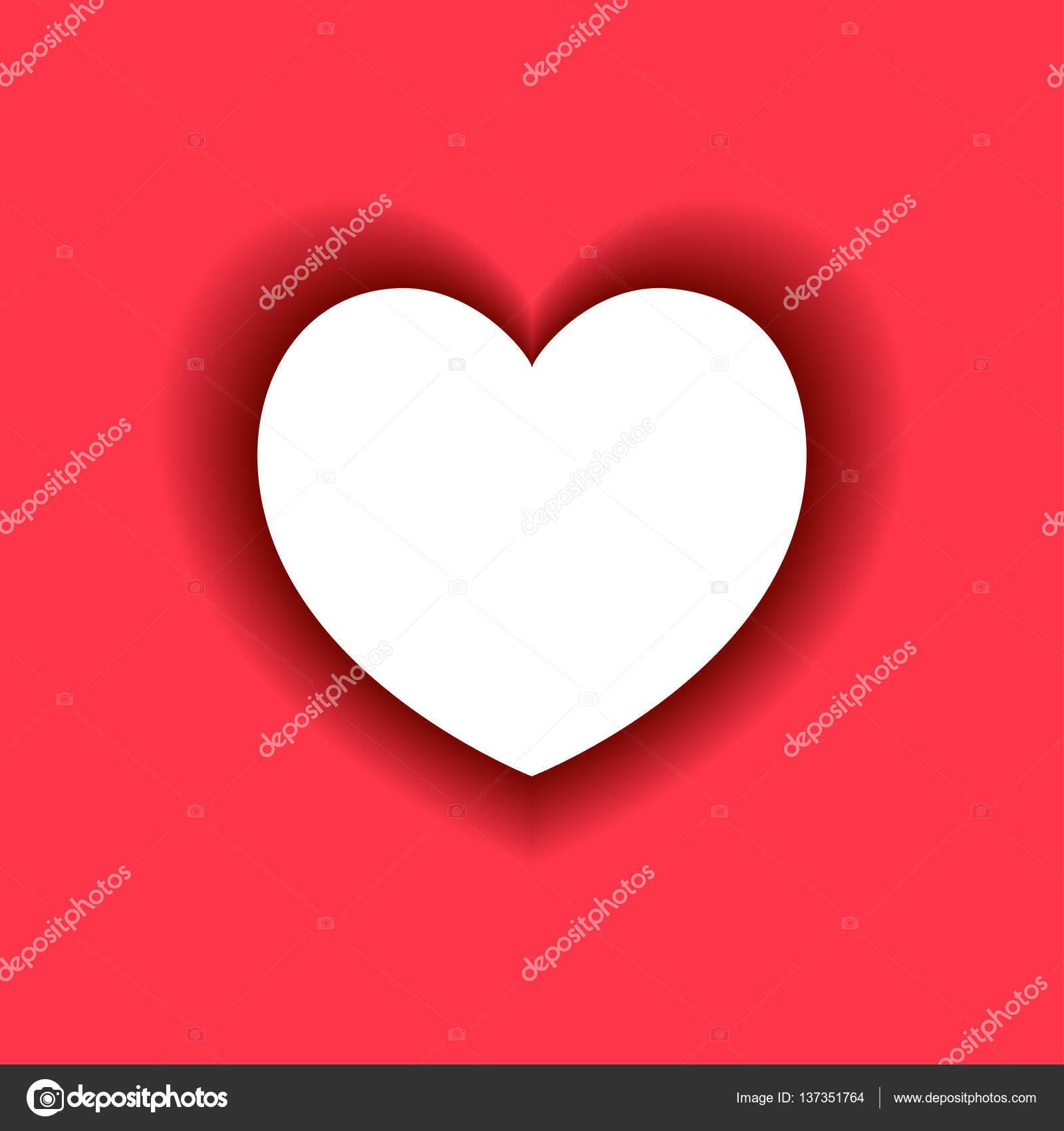 Weiß Herz mit Schatten auf rotem Grund — Stockvektor © vladneshte ...