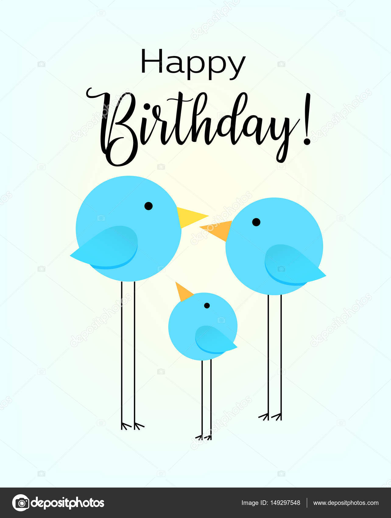 Birthday Greeting Card Drawing With The Family Of Birds For Baby Frame Vector Illustration By Vladneshtegmail