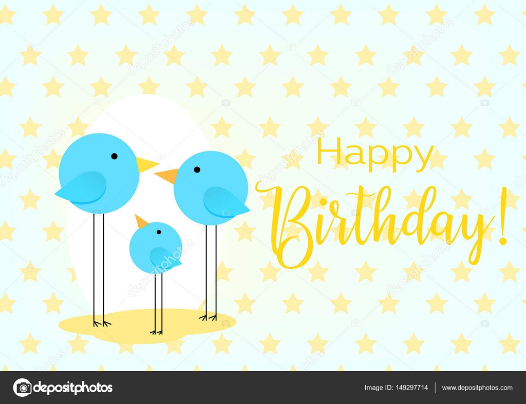 Birthday greeting card drawing with the family of birds for baby birthday greeting card drawing with the family of birds for baby frame vector illustration vector by vladneshteail kristyandbryce Image collections