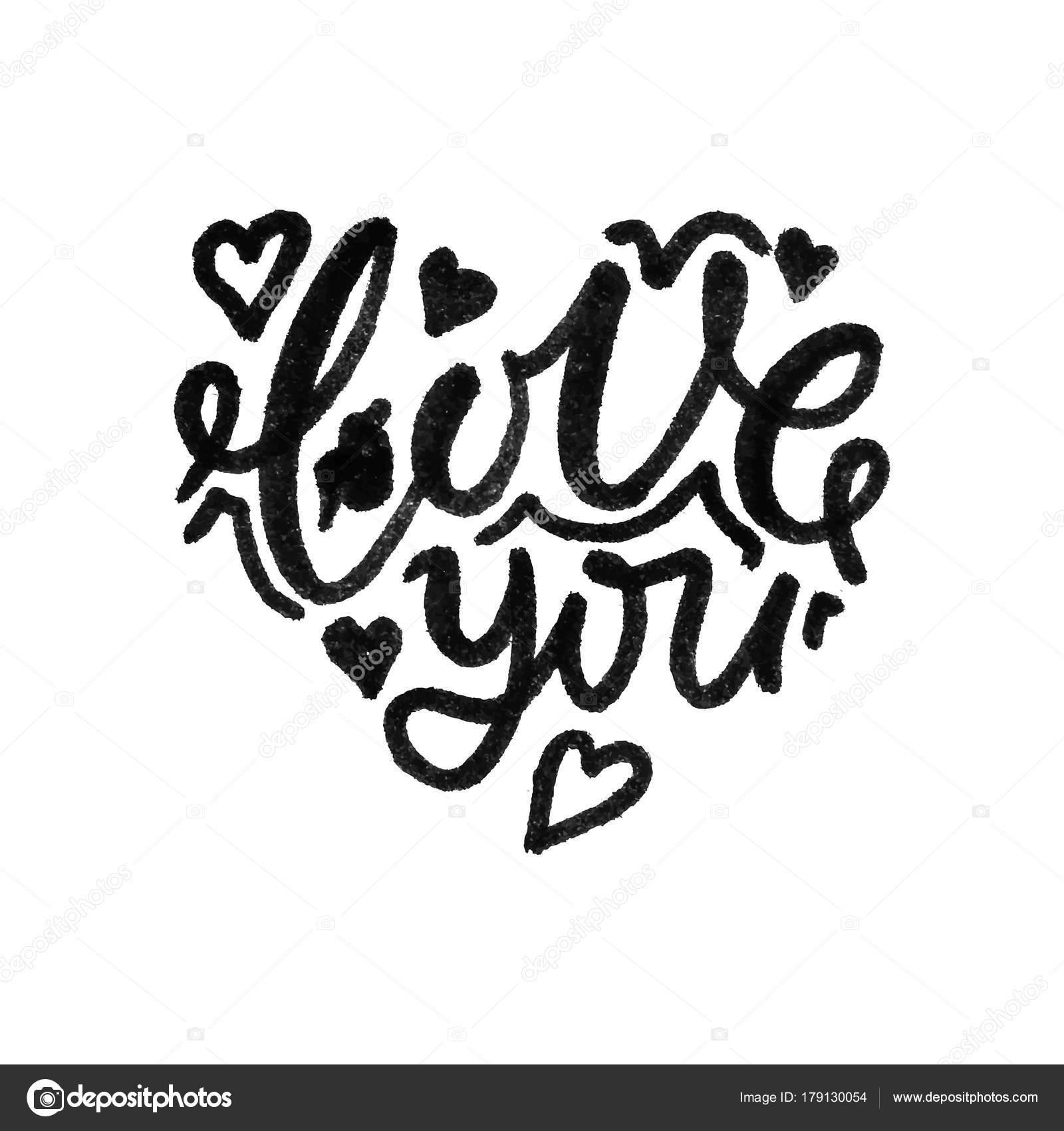 Deletreado la palabra amor, te amo en la forma del corazón. Vector ...