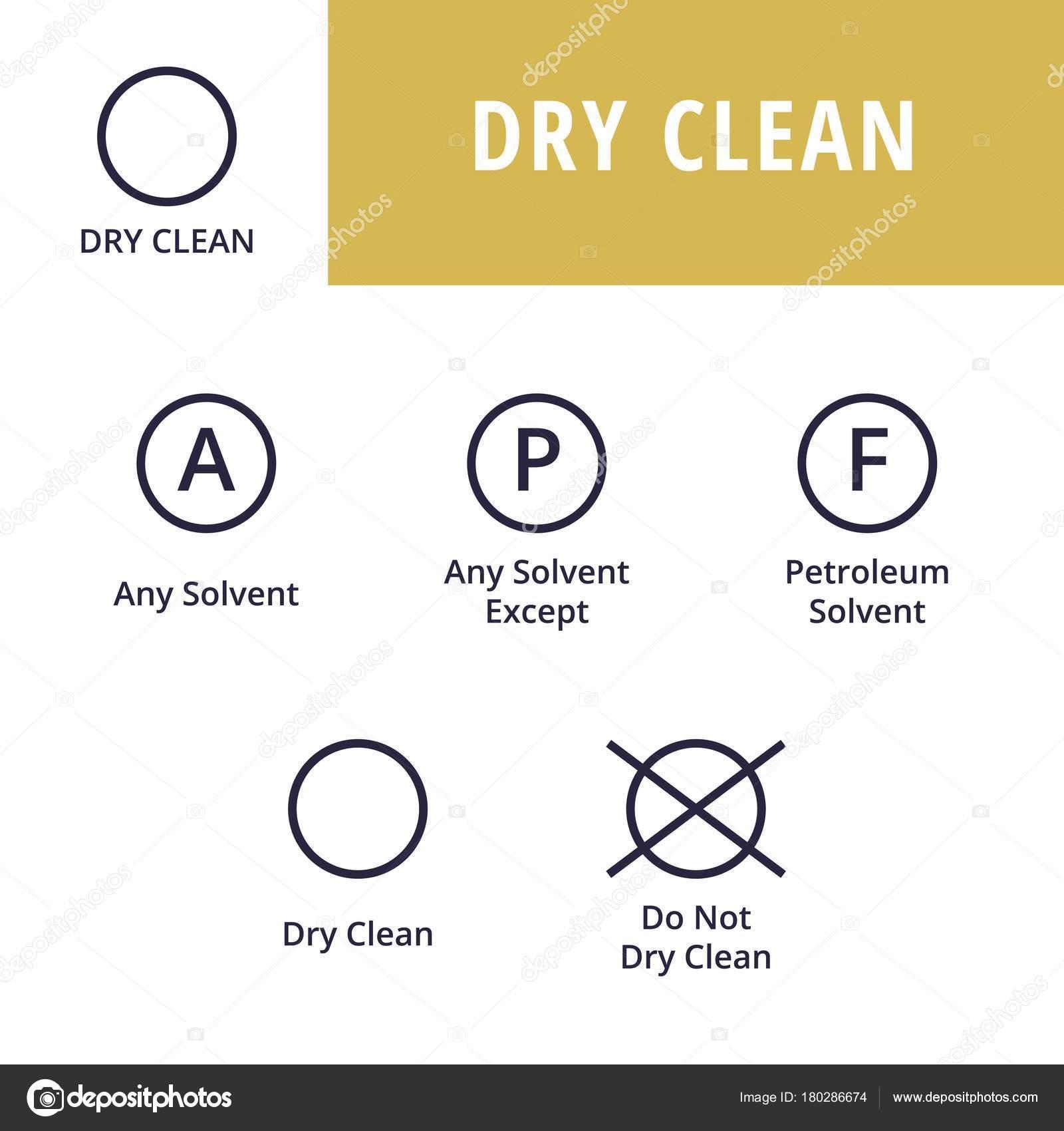 Dry Clean Textile Care Symbols Stock Vector Revoltan 180286674