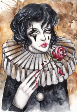 Pierrot with a red rose. Hand-painted watercolor gothic illustration