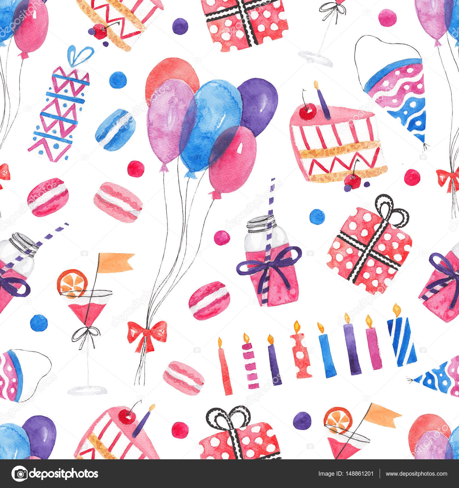 Seamless Pattern With Balloons Cake Cocktails Macaroons Gifts Watercolor Party Happy Birthday Background Photo By Loveless Lizamailru