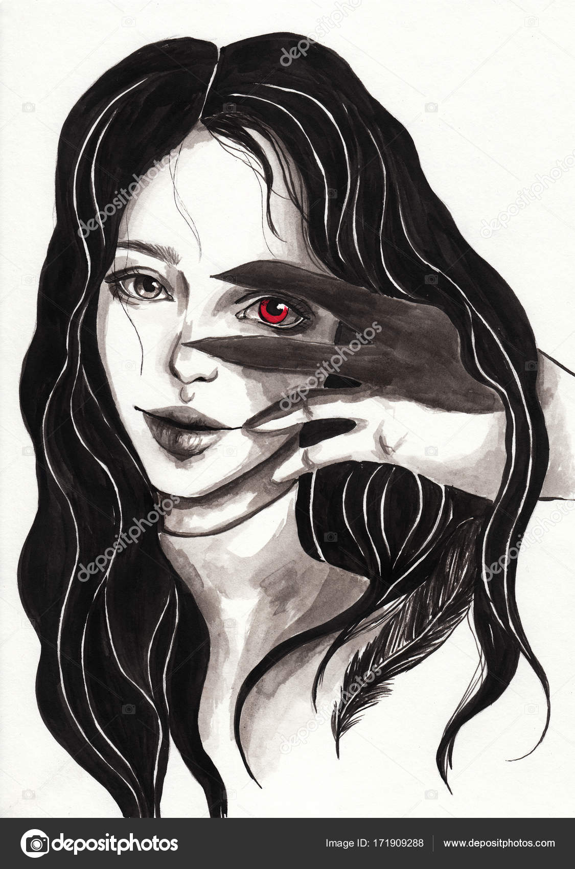 Gothic Girl With Black Hair And Red Eye Witch Demon Stock Photo