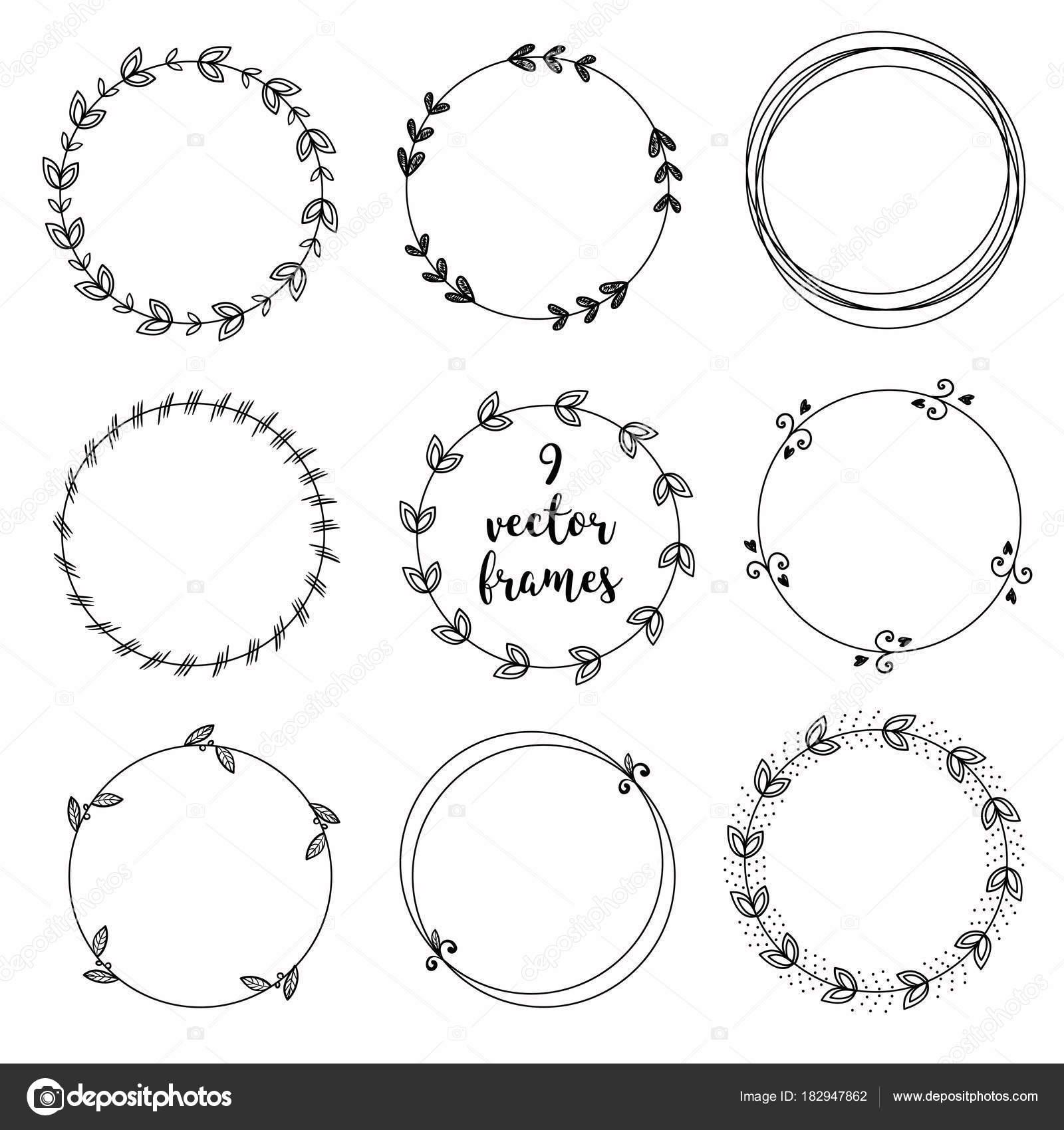 Conjunto de vectores Marcos redondo ornamentales sobre fondo blanco ...