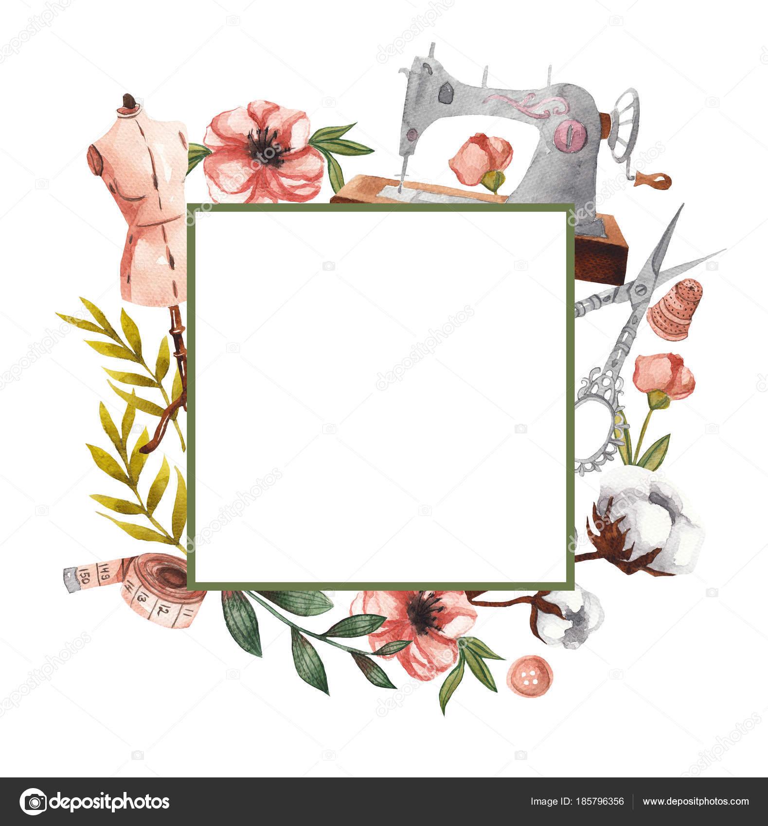 Marco Cuadrado Geométrico Con Elementos Costura Elementos Florales ...