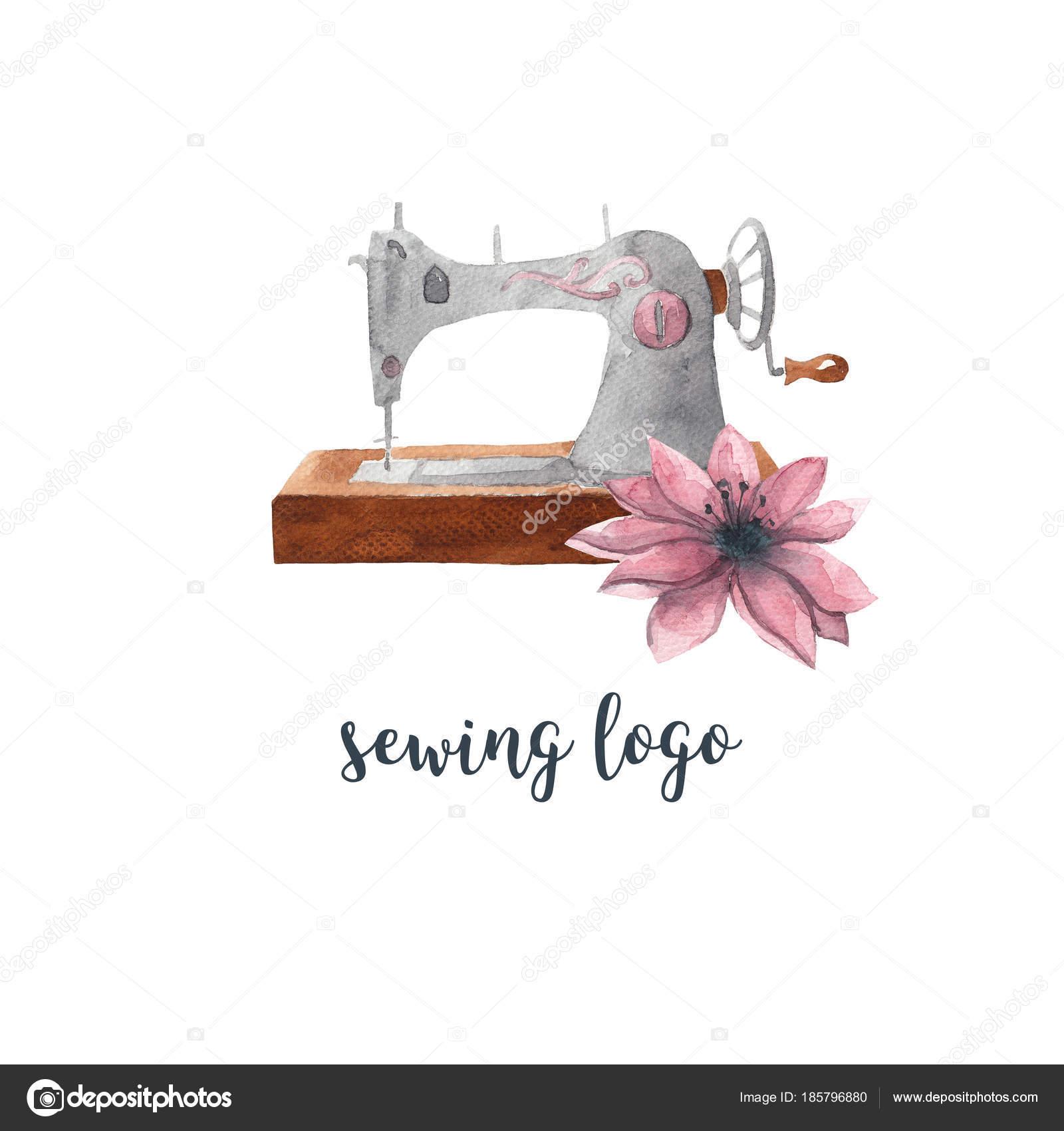 Logotipo Costura Maquina Coser Del Vintage Flores Rosadas