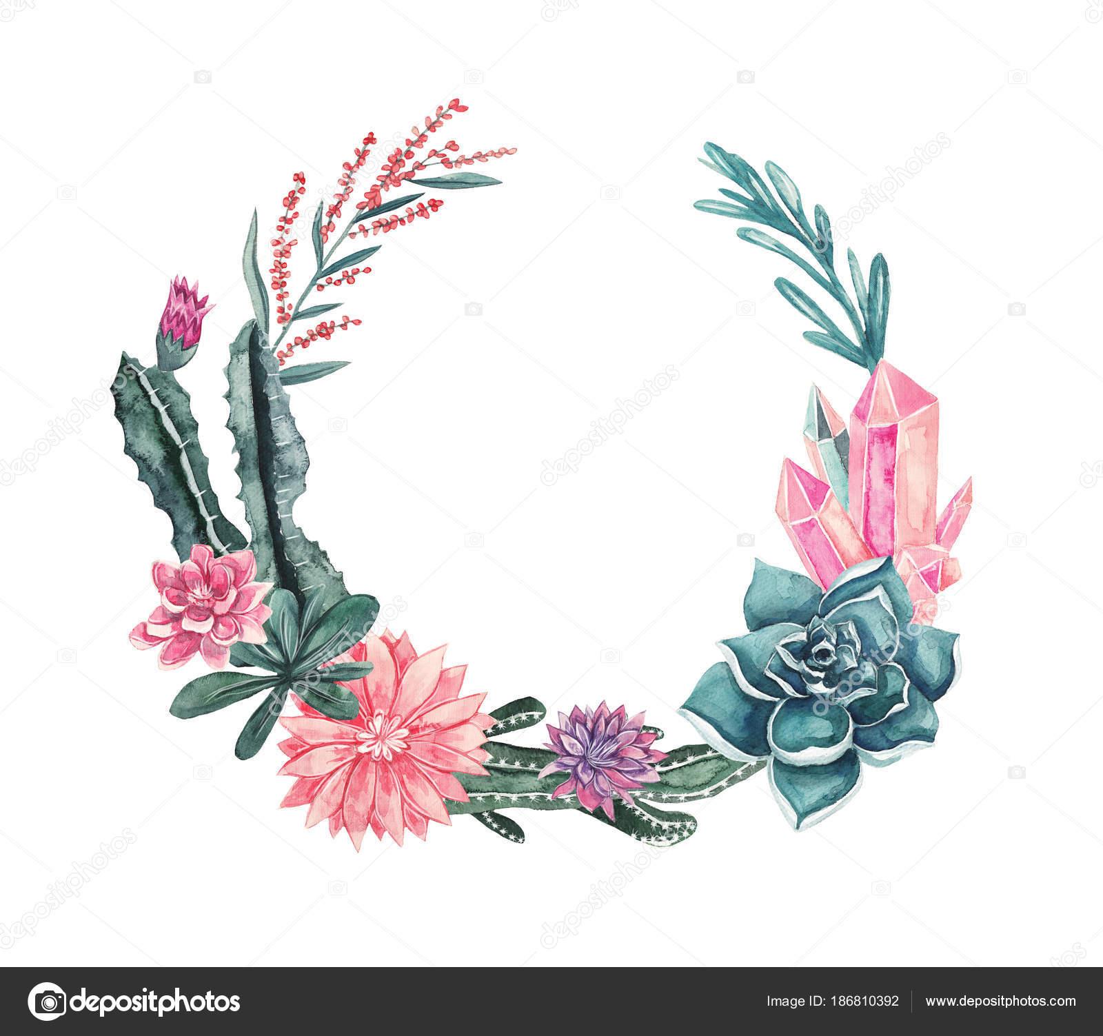 Guirnalda Flores Plantas Suculentas Cactus Piedras Preciosas Las ...