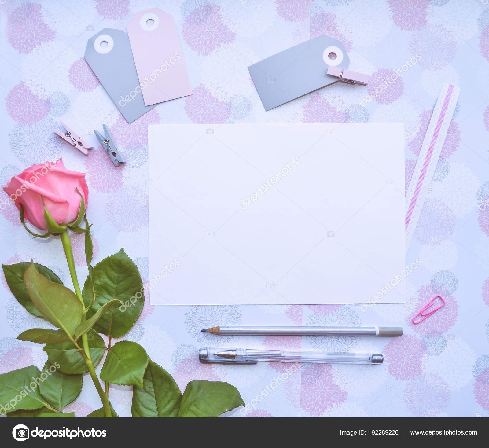 Blank paper stationery badges clothespins hair bands pink rose pens blank paper stationery badges clothespins hair bands pink rose pens stock photo mightylinksfo