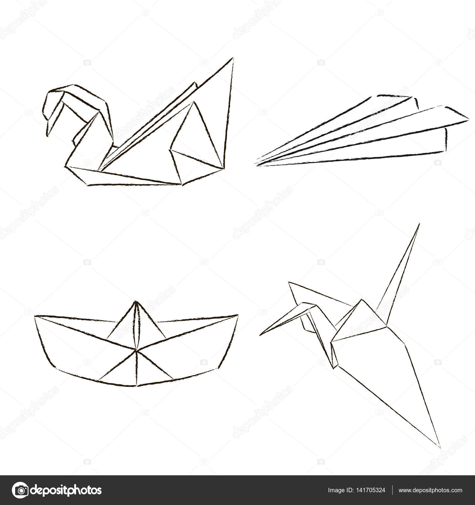 Origami Set Sketch In Vector Paper Plane Crane Swan And Ship