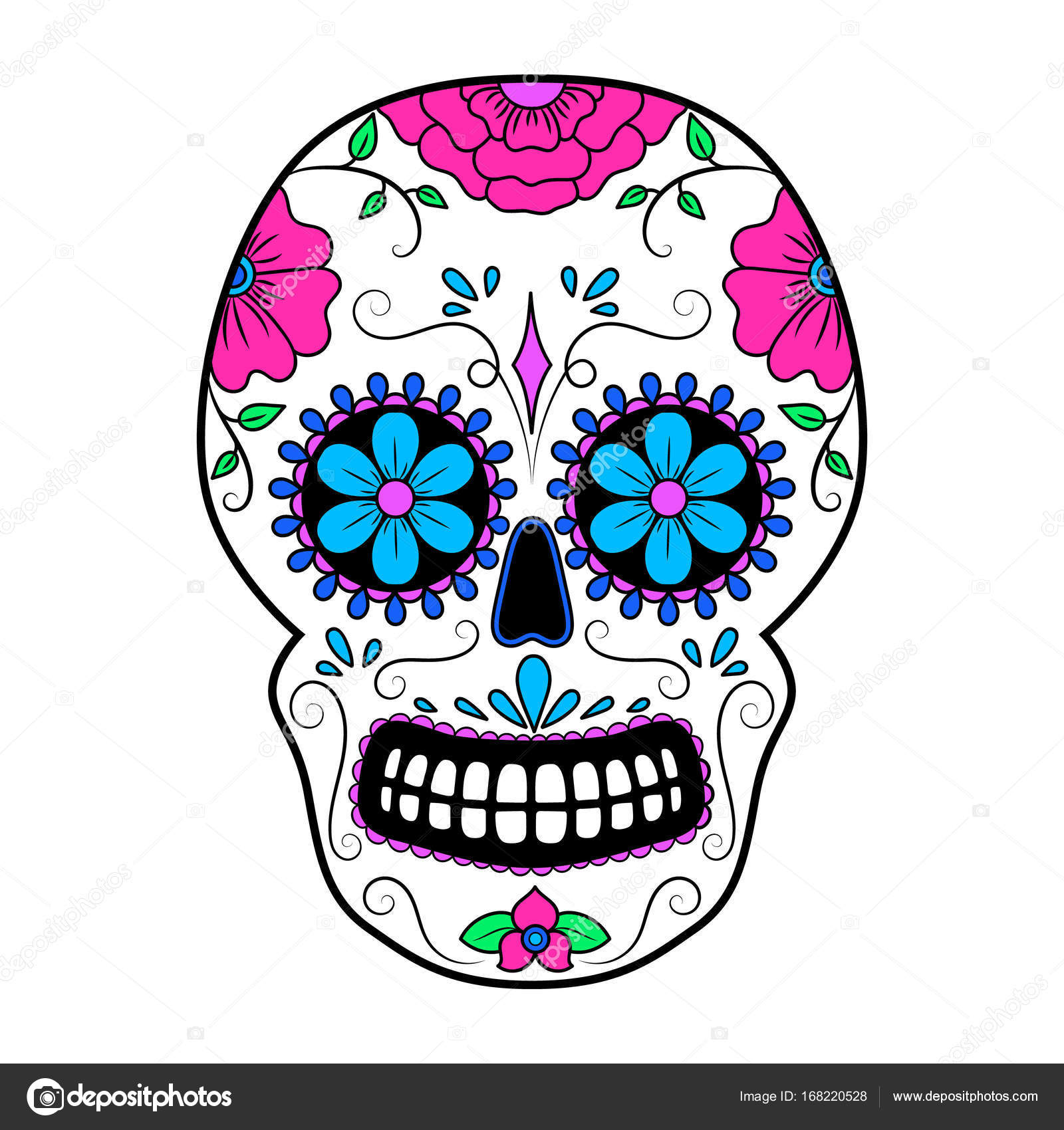 day of the dead colorful skull with floral ornament mexican sugar rh depositphotos com day of the dead vector download day of the dead skull vector