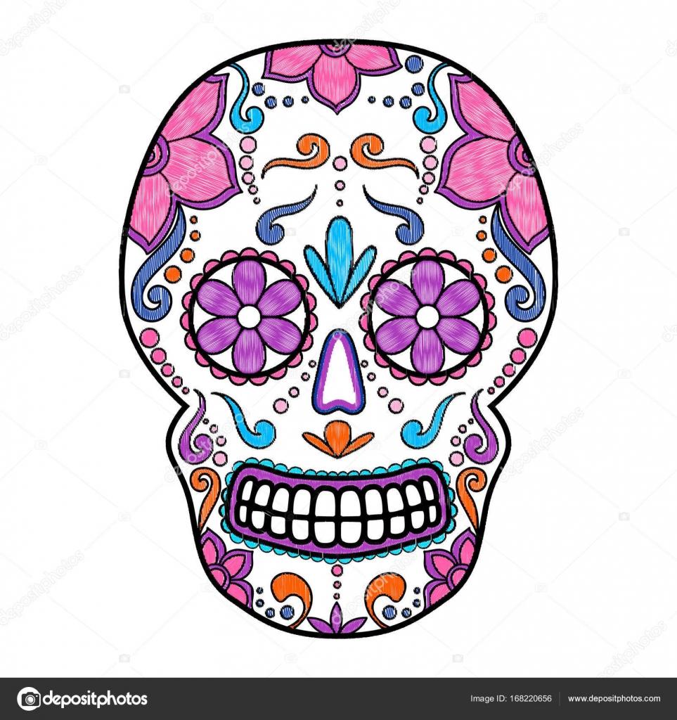 day of the dead skull color avec ornement floral cr ne. Black Bedroom Furniture Sets. Home Design Ideas