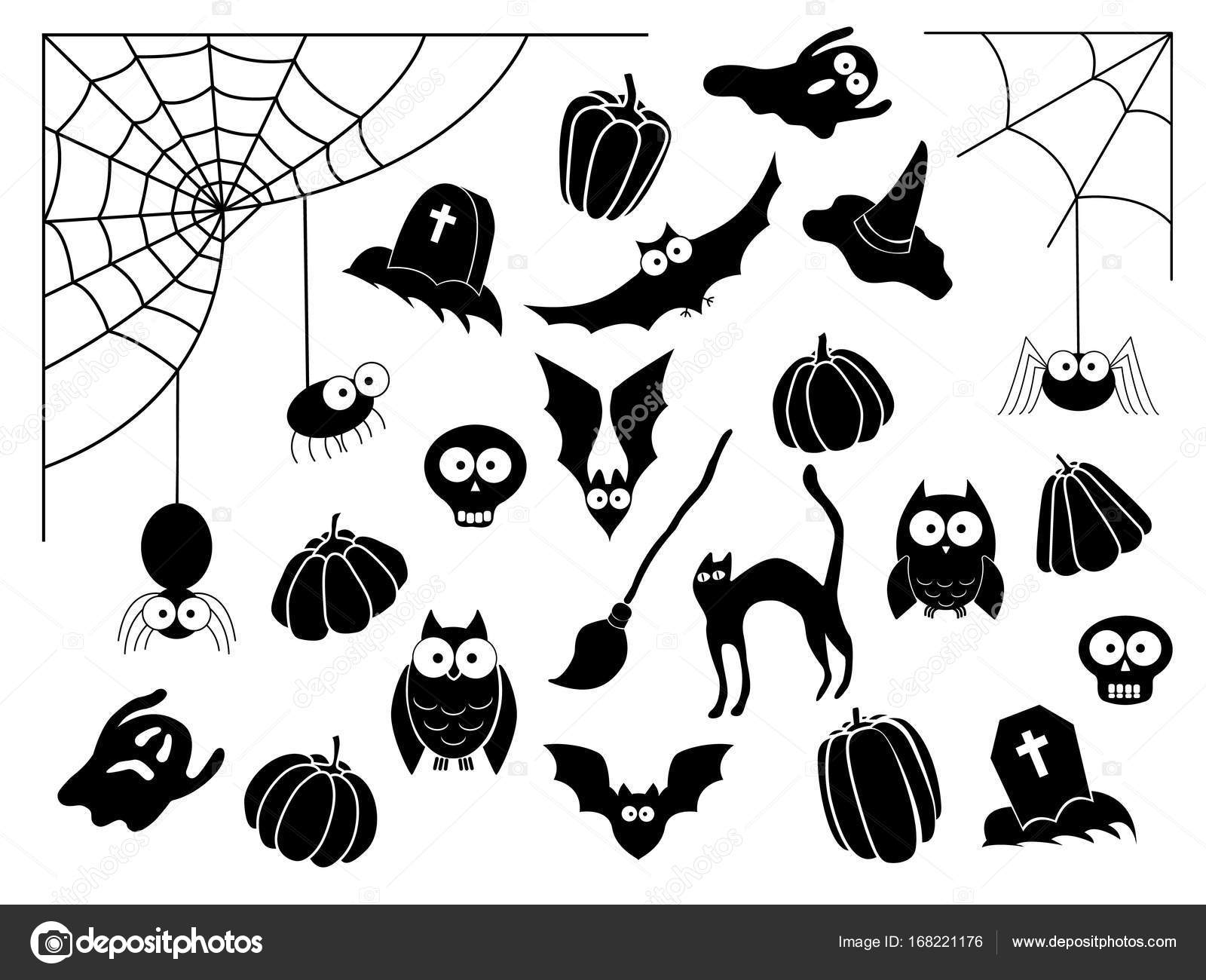 Vector Collection Of Different Cute Black Halloween Silhouettes Cat Witch Hat Broom Ghost Grave Bat Skull Web Owl Pupmkin Stock Vector C Exit Near Gmail Com 168221176