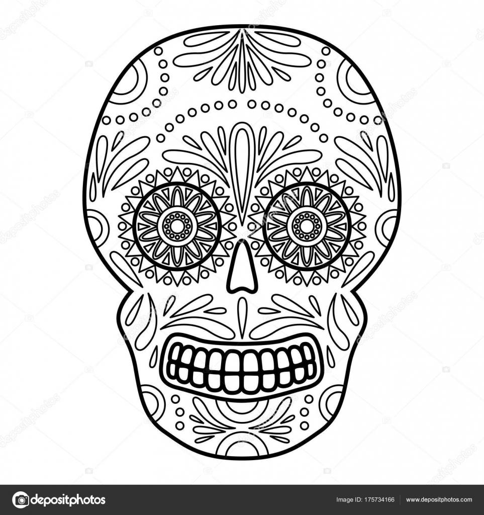 Tag Der Toten Bunte Schädel Mit Floralen Ornamenten Mexikanischen ...