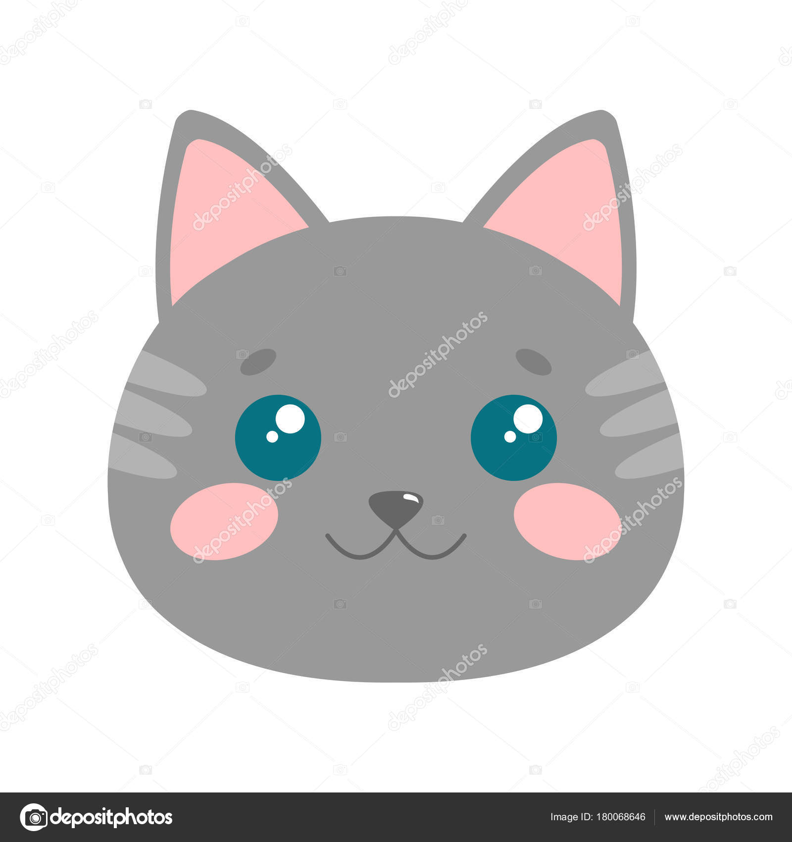 Cute Cat Face Vector Illustration Stock Vector C Exit Near Gmail