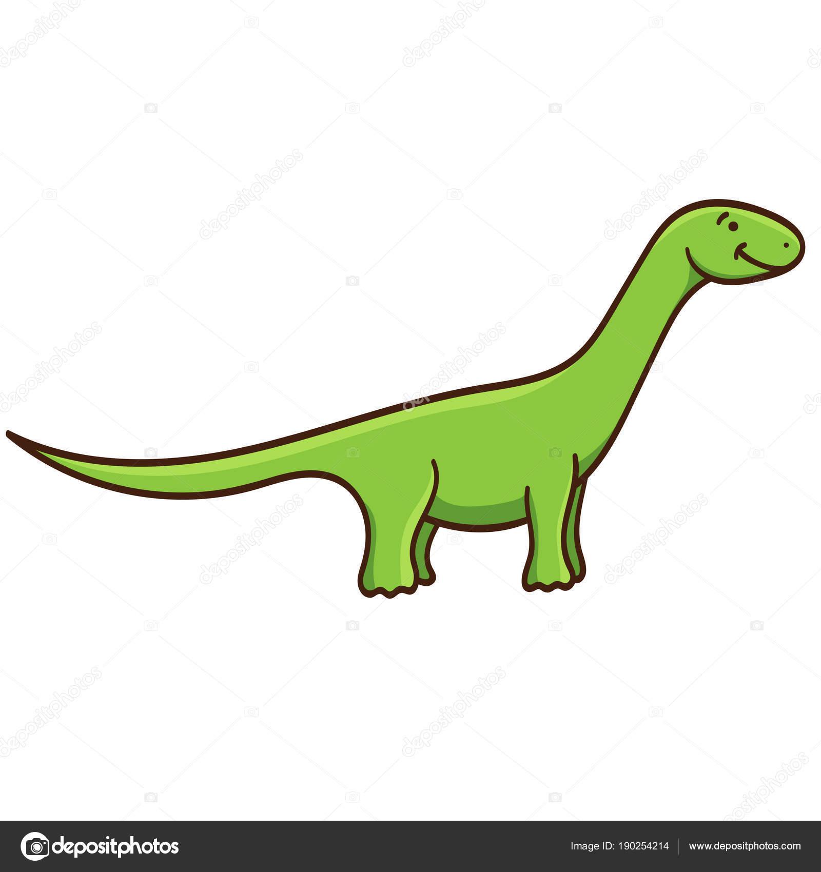 Sevimli çizgi Dinozor Beyaz Arka Plan üzerinde Izole Vektör çizim