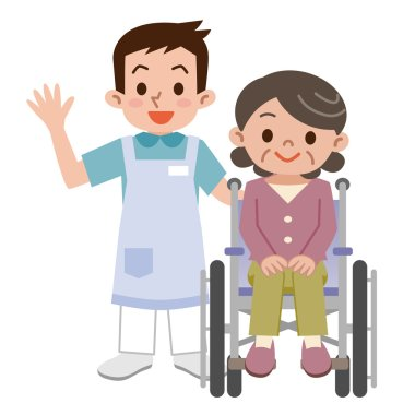 Senior woman in a wheelchair and young caregiver
